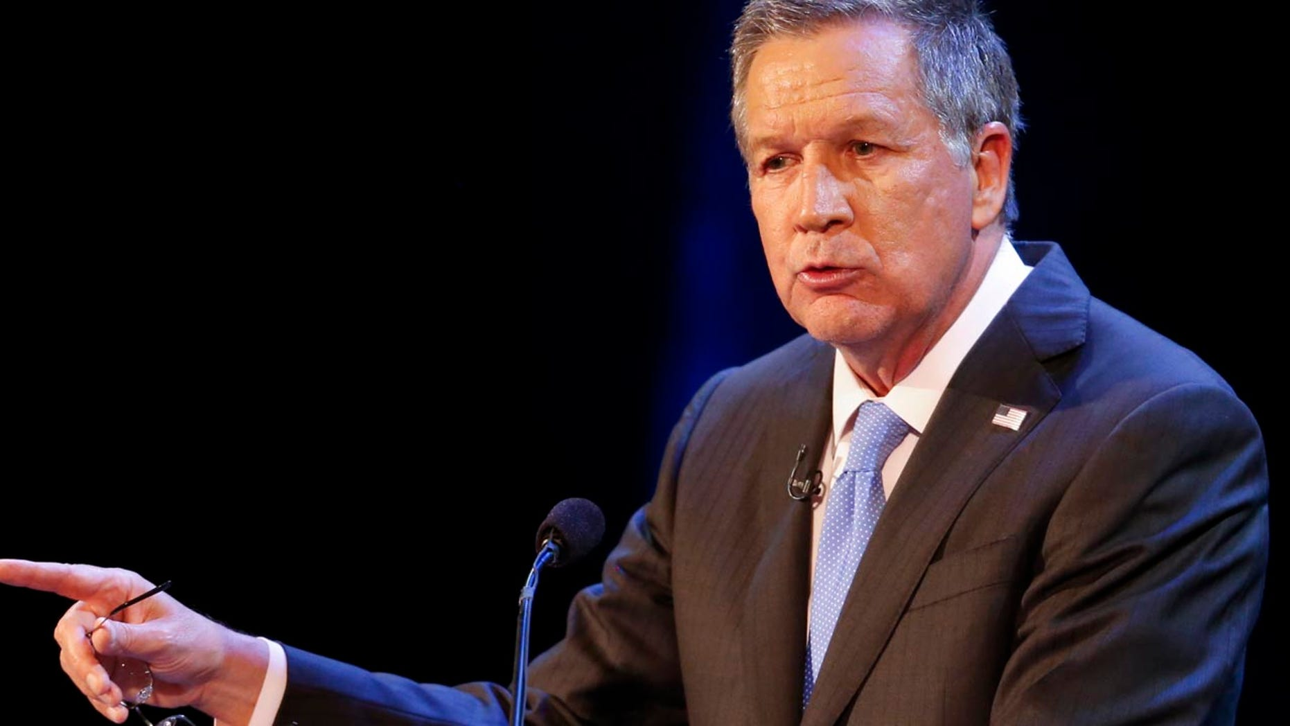 FILE - In this April 4, 2017 file photo, Ohio Gov. John Kasich speaks in Sandusky, Ohio. Kasich is joining friend and ex-California Gov. Arnold Schwarzenegger in his effort to overhaul partisan political map-making that's helped fuel their Republican party's rise to power. Kasich said Tuesday, Sept. 5, 2017, he's signed a legal brief that opposes the GOP in the momentous redistricting case being heard by the U.S. Supreme Court this fall. He says other signers include Republicans John McCain and Bob Dole. (AP Photo/Ron Schwane, File)