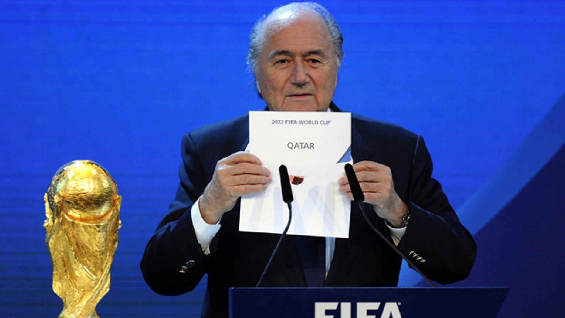 FIFA President Sepp Blatter in a Dec. 2010 file photo.
