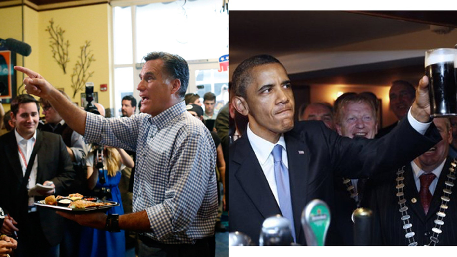 Mitt Romney stops at Tin Fish restaurant in Port St. Lucie, Fla. on Oct. 7 and President Obama in a pub in Moneygall, Ireland on May 23, 2011.