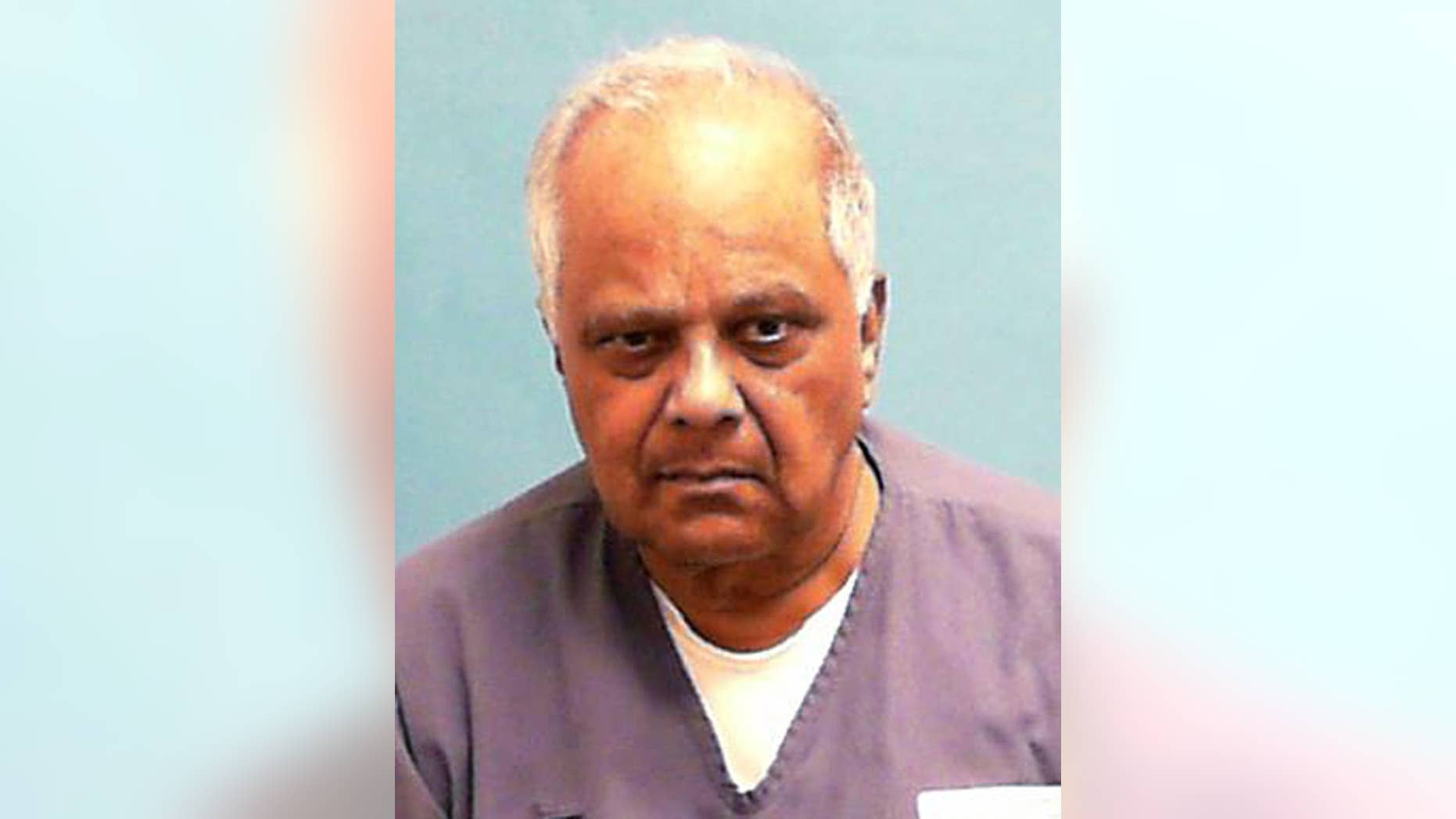 In this undated photo made available by the Florida Department of Corrections shows Krishna Maharaj in custody. The Miami-based 3rd District Court of Appeal on Wednesday, July 13, 2016, upheld without comment a 2015 ruling against a new trial for 77-year-old Maharaj. Maharaj contends he was framed by Colombian drug cartels for the 1985 shooting deaths of his business partner and the partner's son at a downtown Miami hotel. (Florida Department of Corrections via AP)