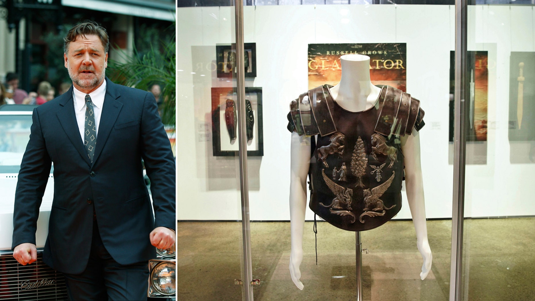 One of the costumes (right) from the film Gladiator owned by actor Russell Crowe (left) on display for the 'Russell Crowe: The Art of Divorce Auction' at Carriageworks, Sydney, Australia, on Saturday.