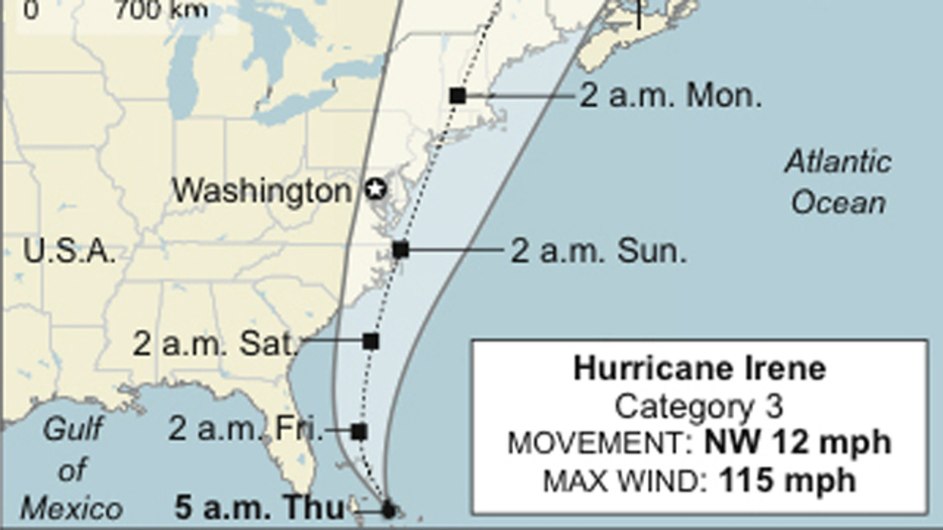 Map shows Hurricane Ireneâs location and predicted path, updated as of 5 a.m. EDT Thursday