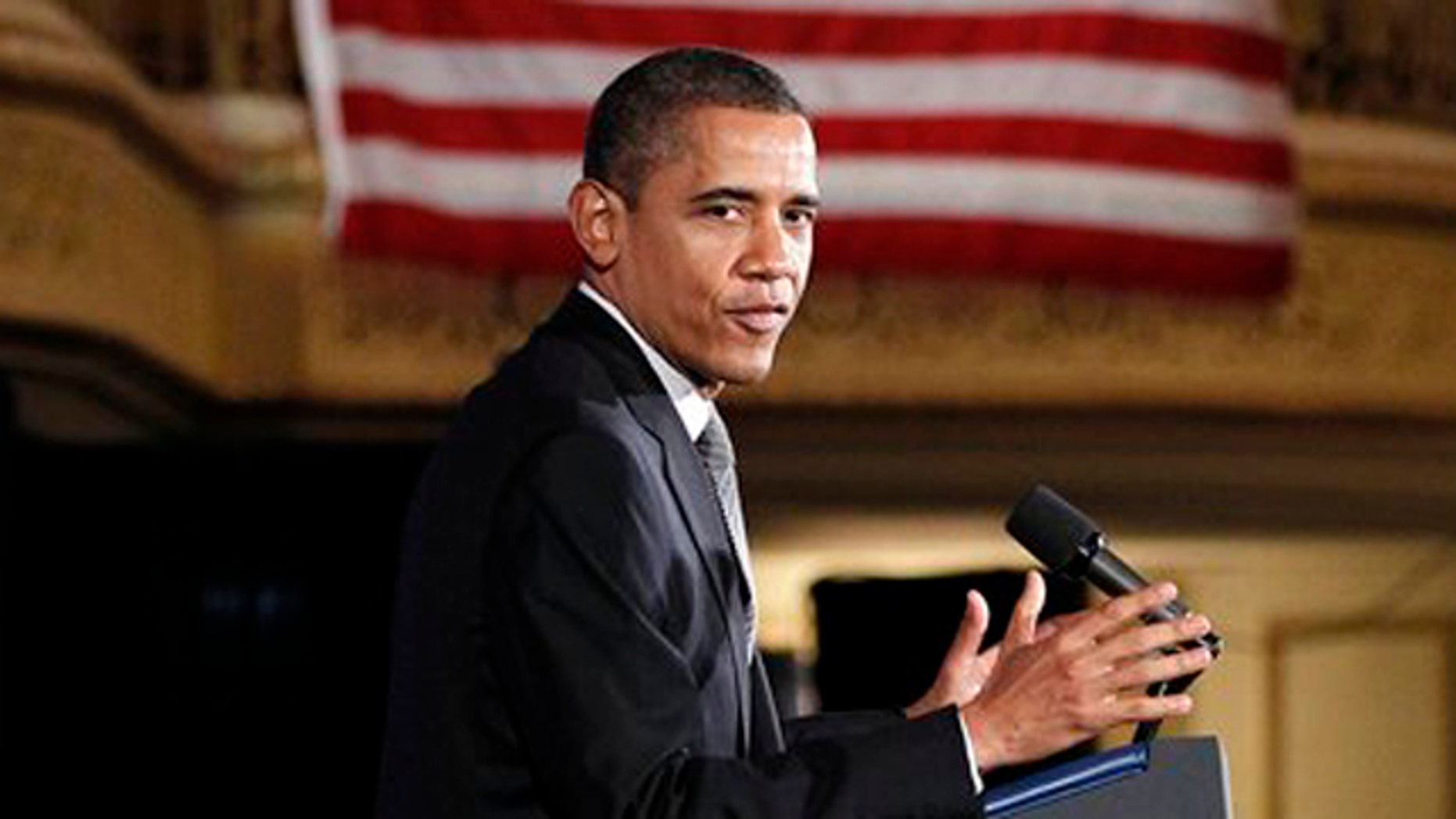 March 16, 2012: President Obama speaks during a 'Lawyers for Obama Luncheon' fundraiser at the Palmer House Hotel in Chicago.