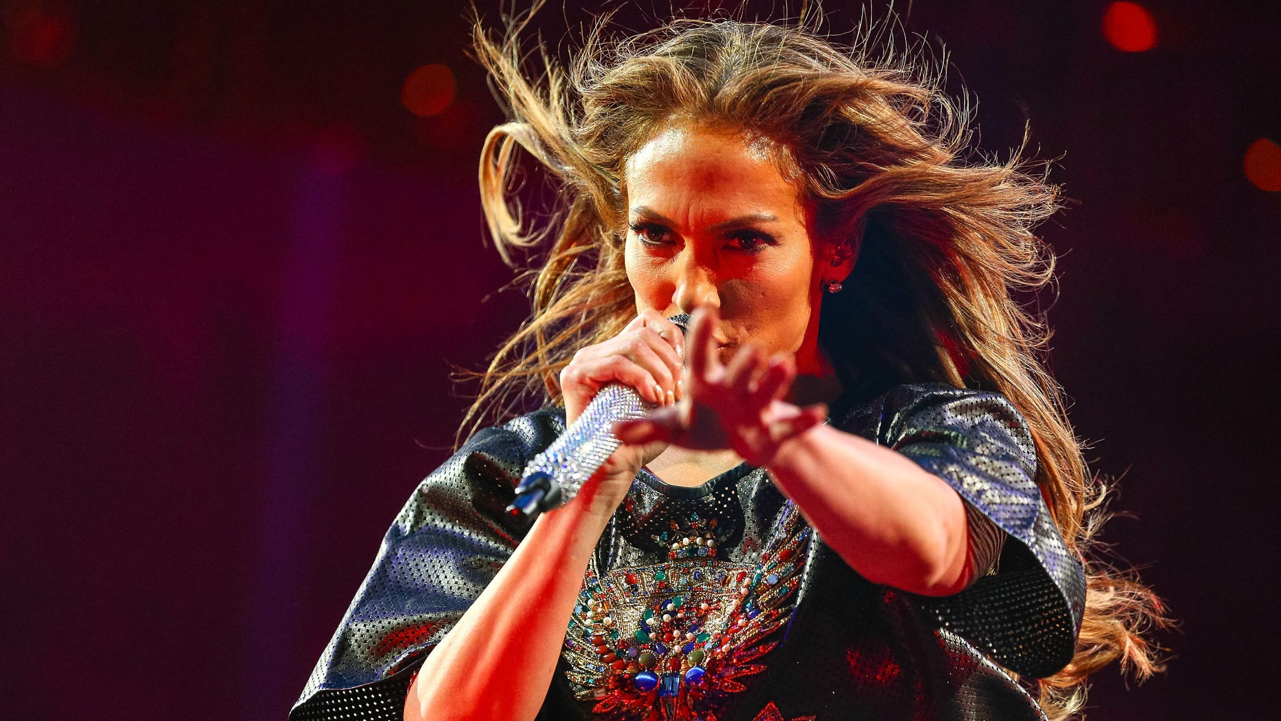 Jennifer Lopez onstage at Power 106 FM's Powerhouse at Honda Center on May 17, 2014 in Anaheim, California.