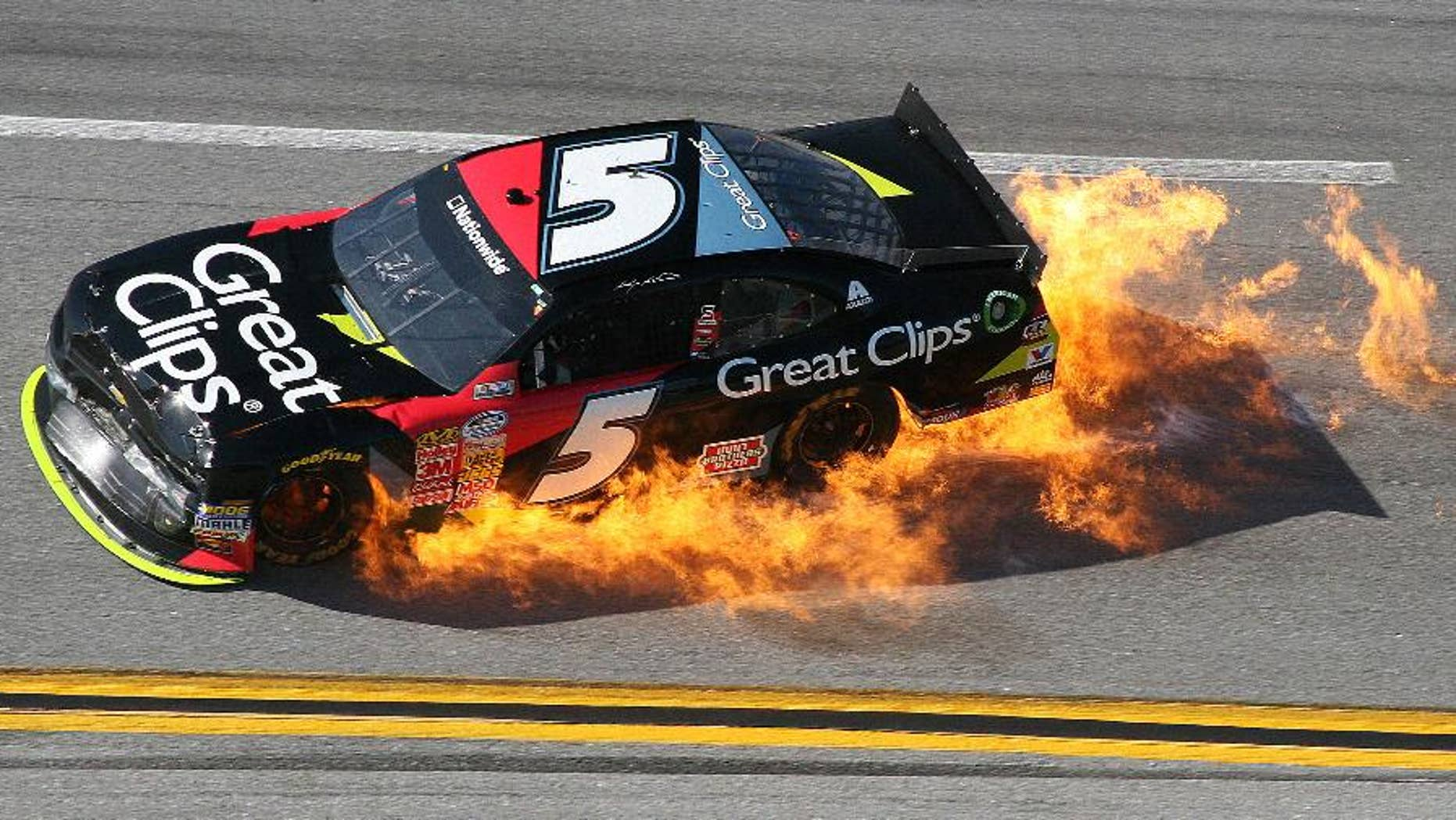 Kasey Kahne (5) moves off the track into Turn 4 during the NASCAR Aaron's 312 Nationwide series auto race at Talladega Superspeedway, Saturday, May 3, 2014, in Talladega, Ala. (AP Photo/Dale Davis)