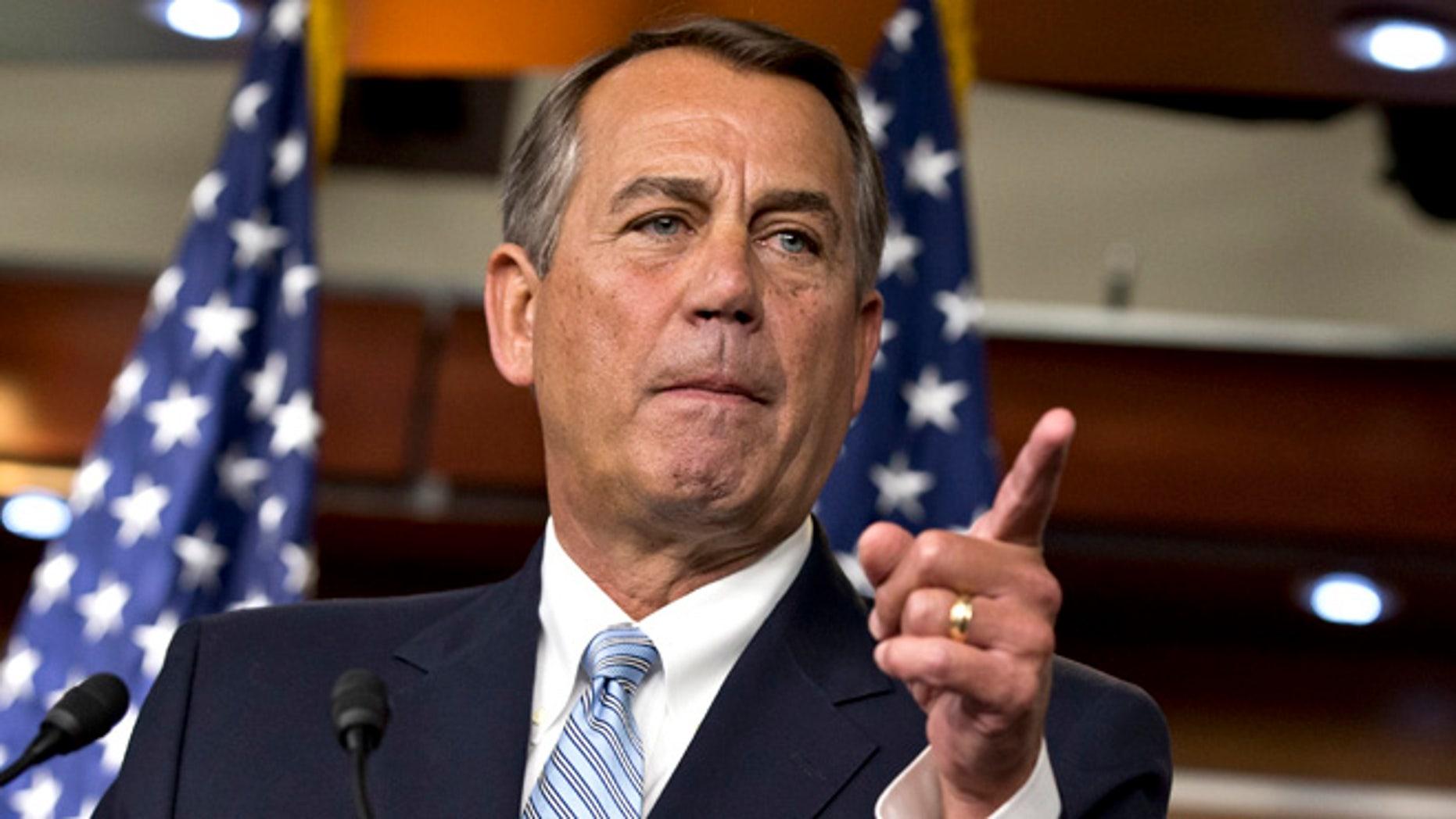 Feb. 6, 2013: House Speaker John Boehner speaks to reporters on Capitol Hill.
