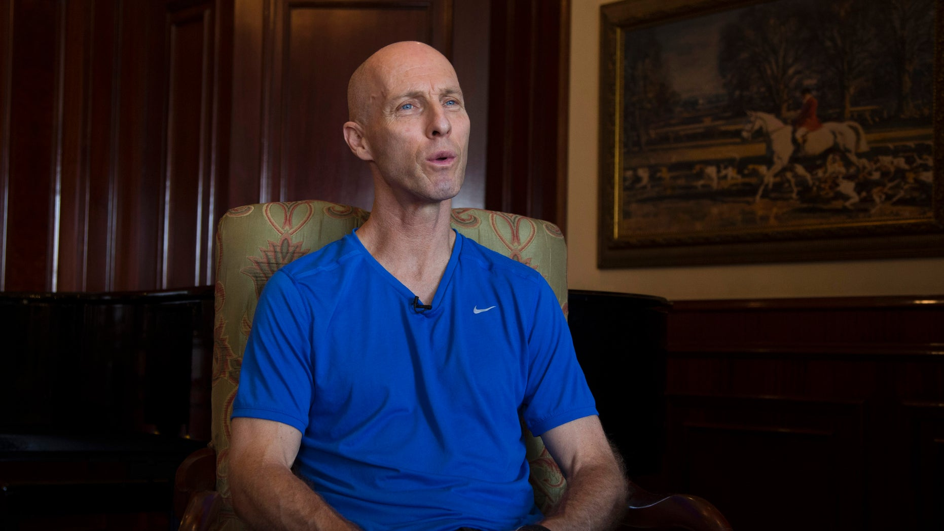 In this Sunday, Oct. 20, 2013 photo, Bob Bradley from the US, Egypt's national team coach talks, during an interview with The Associated Press, in Cairo, Egypt. With Egypt still reeling from a 6-1 loss to Ghana in a World Cup playoff, the team's American coach is hoping to restore some pride to the bruised national side. It's unclear, however, if Bob Bradley will even get the chance to do that.  (AP Photo/Hassan Ammar)
