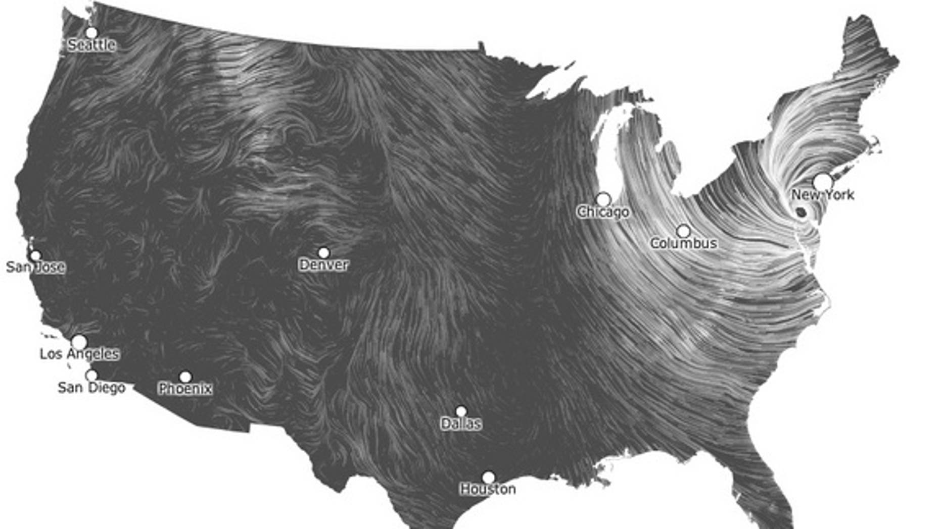 This wind maps shows the spiral of post-tropical storm Sandy's winds at 9:59 p.m. EDT on Tuesday, Oct. 29.