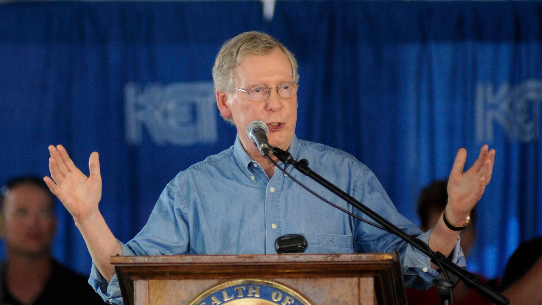 FILE: Aug. 3, 2013: Senate Minority Leader Mitch McConnell of Ky., during the 133rd Annual Fancy Farm Picnic in Fancy Farm, Ky.