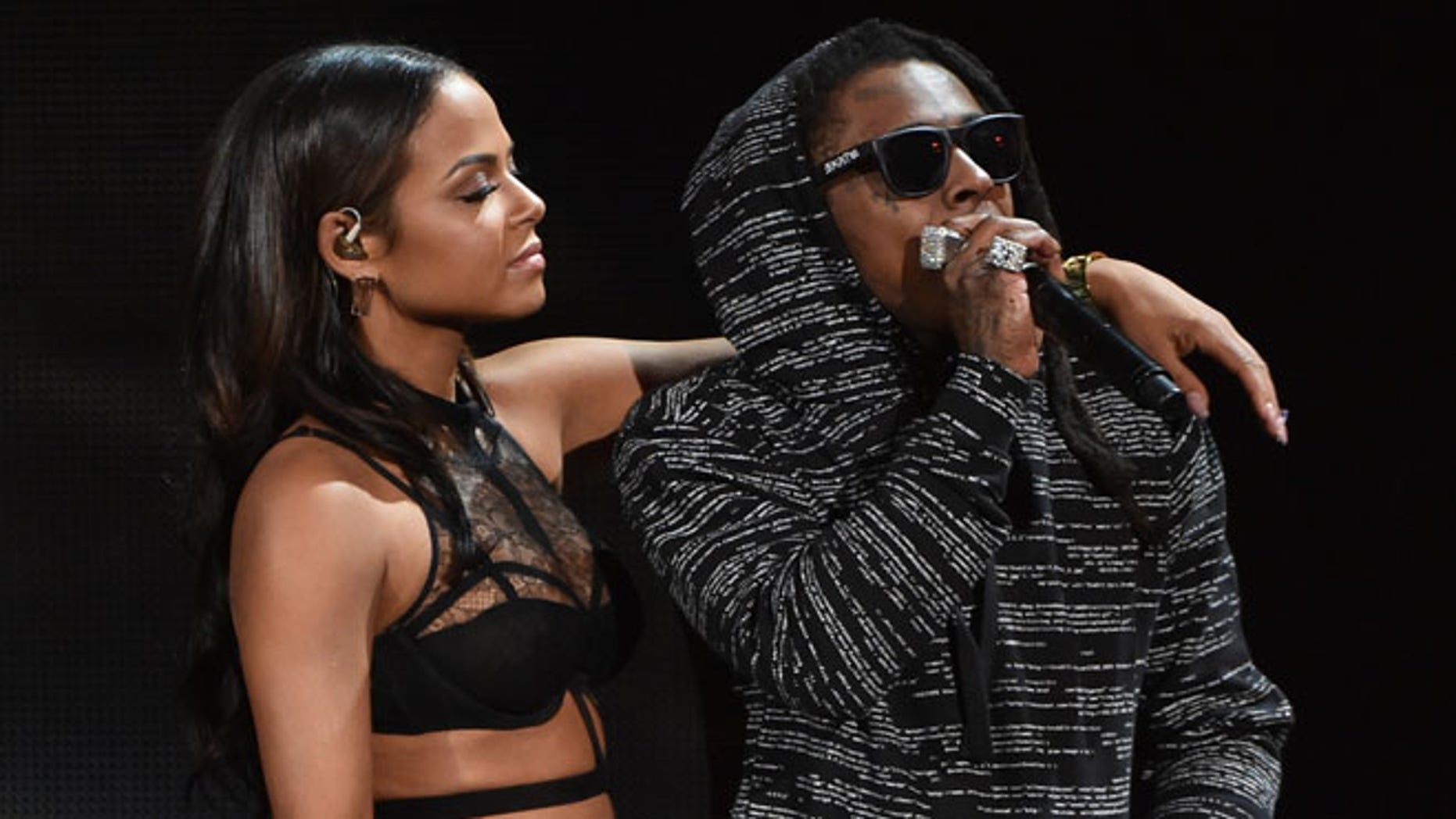 Christina Milian and Lil Wayne at the American Music Awards on November 23, 2014 in Los Angeles, California.