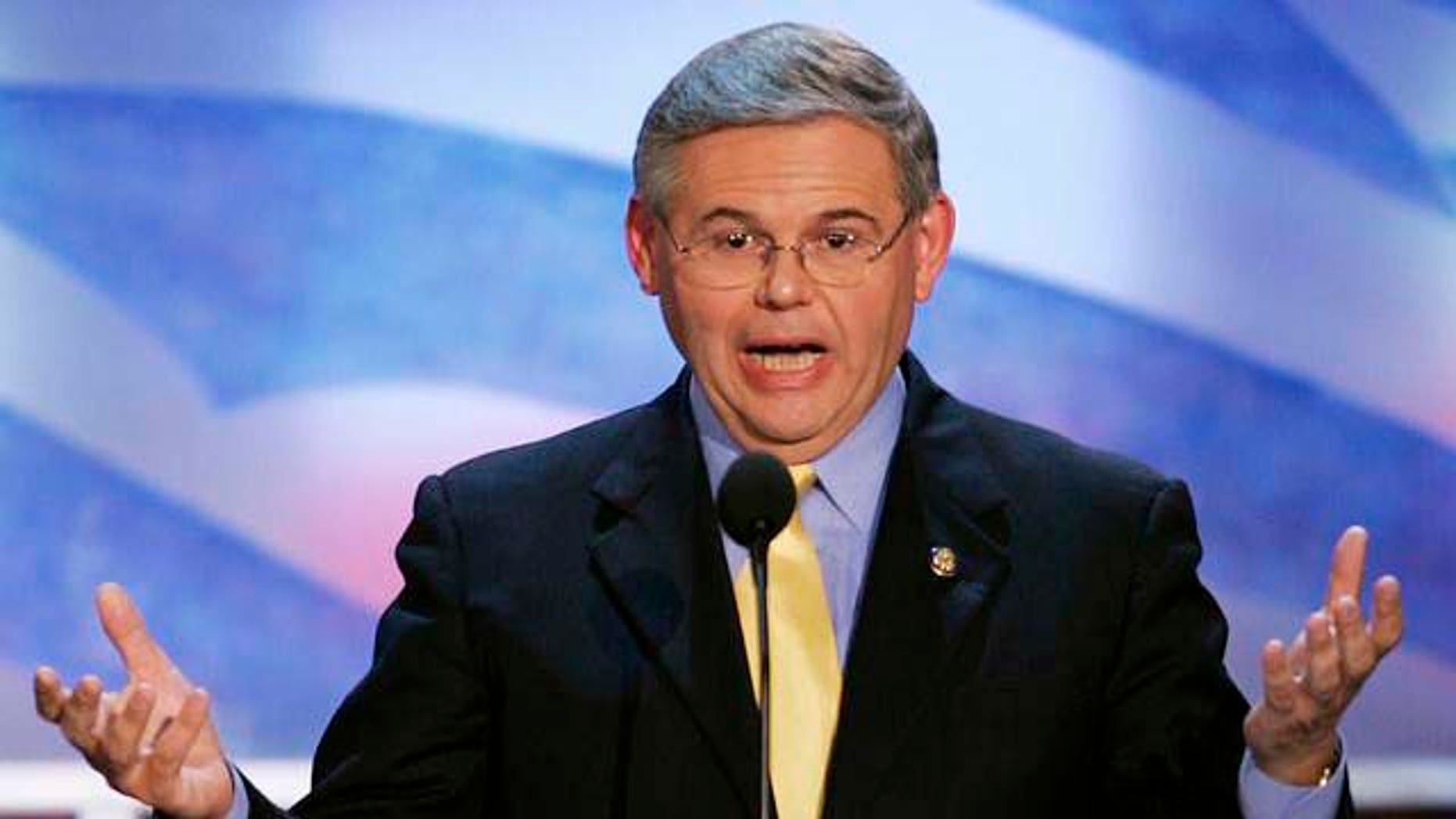 Rep. Robert Menendez, D-N.J., speaks to delegates at the Democratic National Convention on Monday, July 26, 2004, in Boston. (AP Photo/Ron Edmonds)
