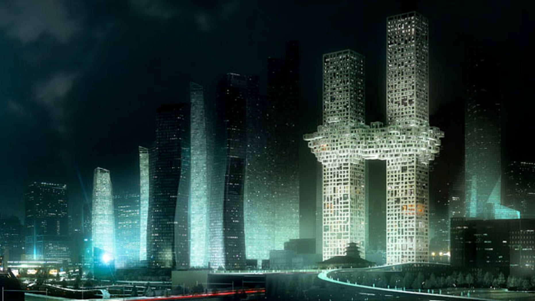 """Dec. 12, 2011: In this artist's rendering provided by Dutch architectural company MVRDV, """"The Cloud,"""" a design of two Seoul skyscrapers, center right, is seen."""