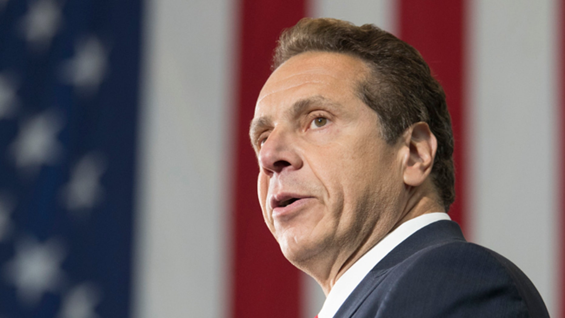 New York Gov. Andrew Cuomo speaks at a rally, Tuesday, June 6, 2017, in New York. Cuomo and House Minority Leader Nancy Pelosi, D-Calif., are hoping to increase the number of congressional seats held by the Democratic Party. (AP Photo/Mary Altaffer)