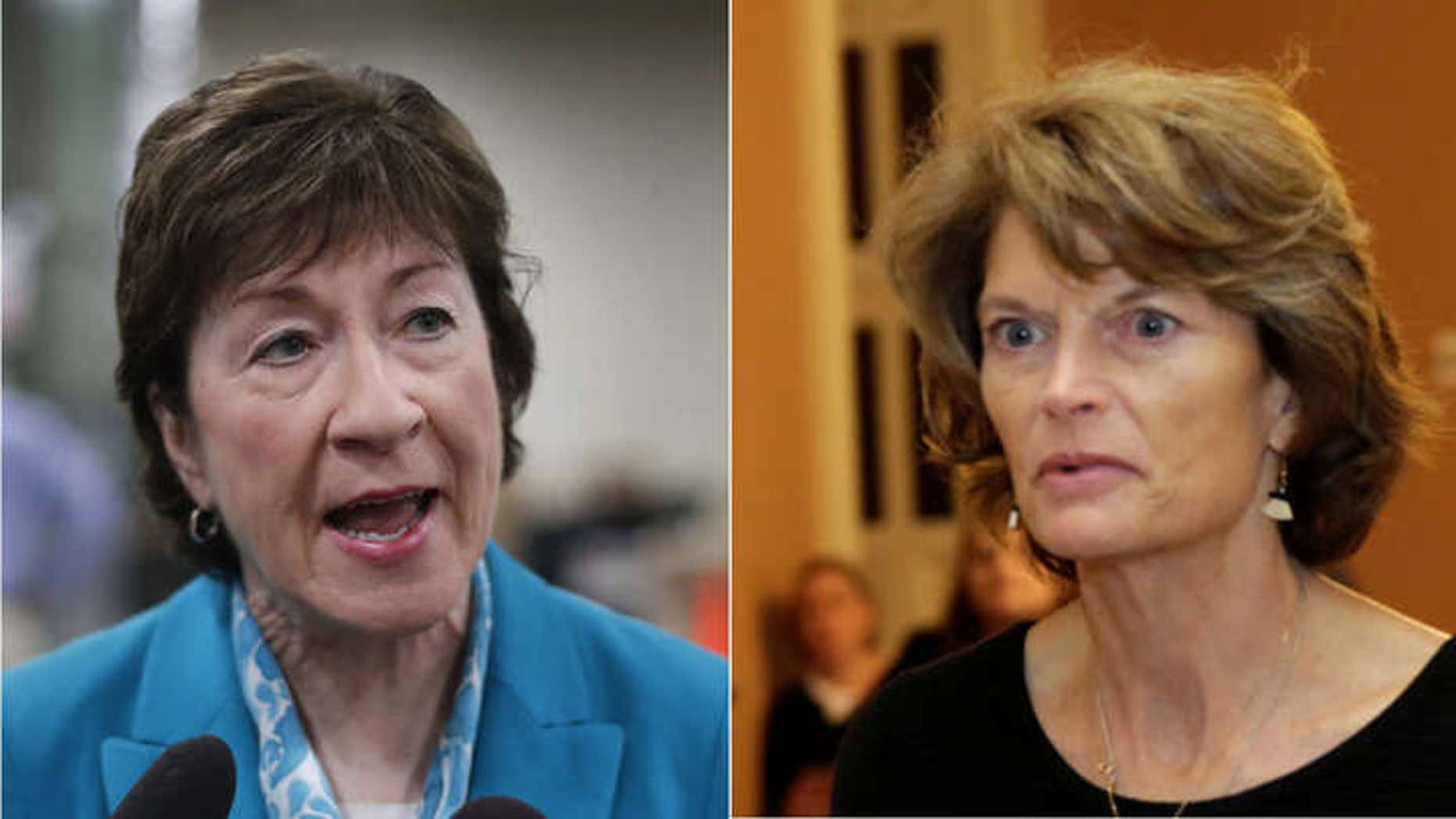 FILE: Sen. Susan Collins, R-Maine, left, and Sen. Lisa Murkowski, R-Alaska, are two key Republican holdouts on the new health bill