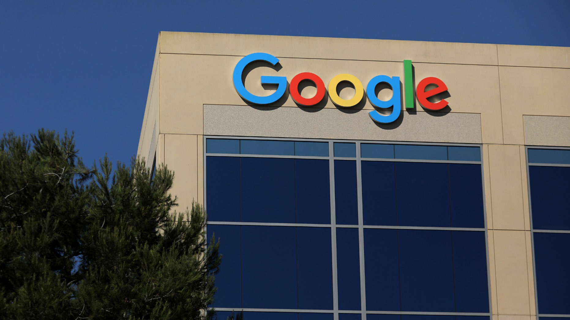 Google's trademark is seen on a building in Irvine, California.