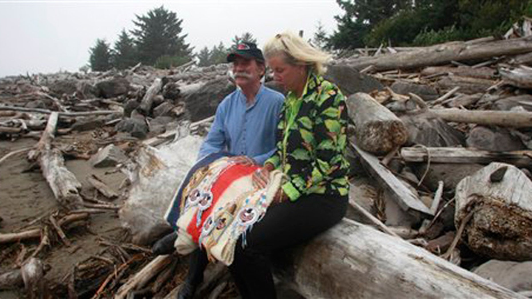 Sept. 22, 2011: William Clark's descendants hold gifts at Cape Disappointment State Park, near Ilwaco, Wash.