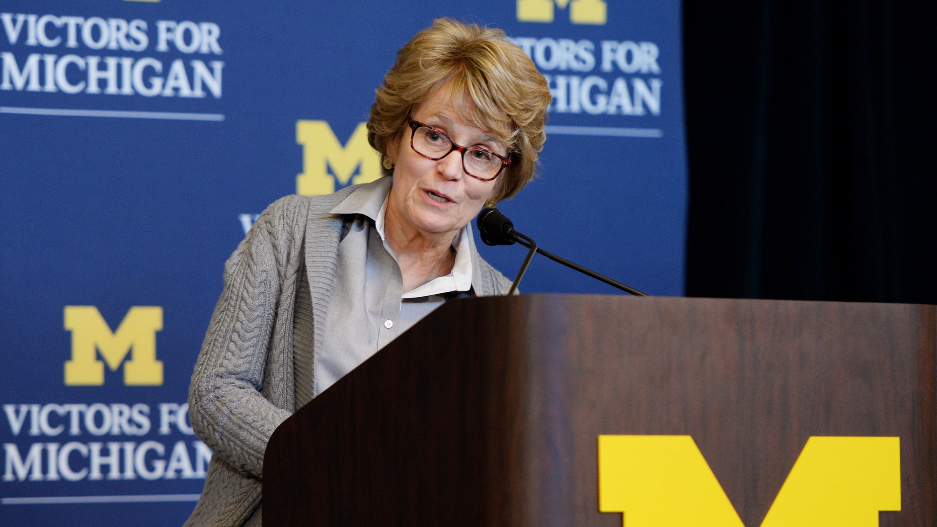 "University of Michigan President Mary Sue Coleman speaks during a press conference to announce the ""Victors for Michigan"" fundraising campaign at Hill Auditorium on Thursday, Mov. 7, 2013, in Ann Arbor, Mich. The campaign, with an ambitious fundraising goal of $4 billion, is the sixth such effort undertaken by the university since 1948 . (AP Photo/AnnArbor.com,  Melanie Maxwell) LOCAL TV OUT; LOCAL INTERNET OUT"