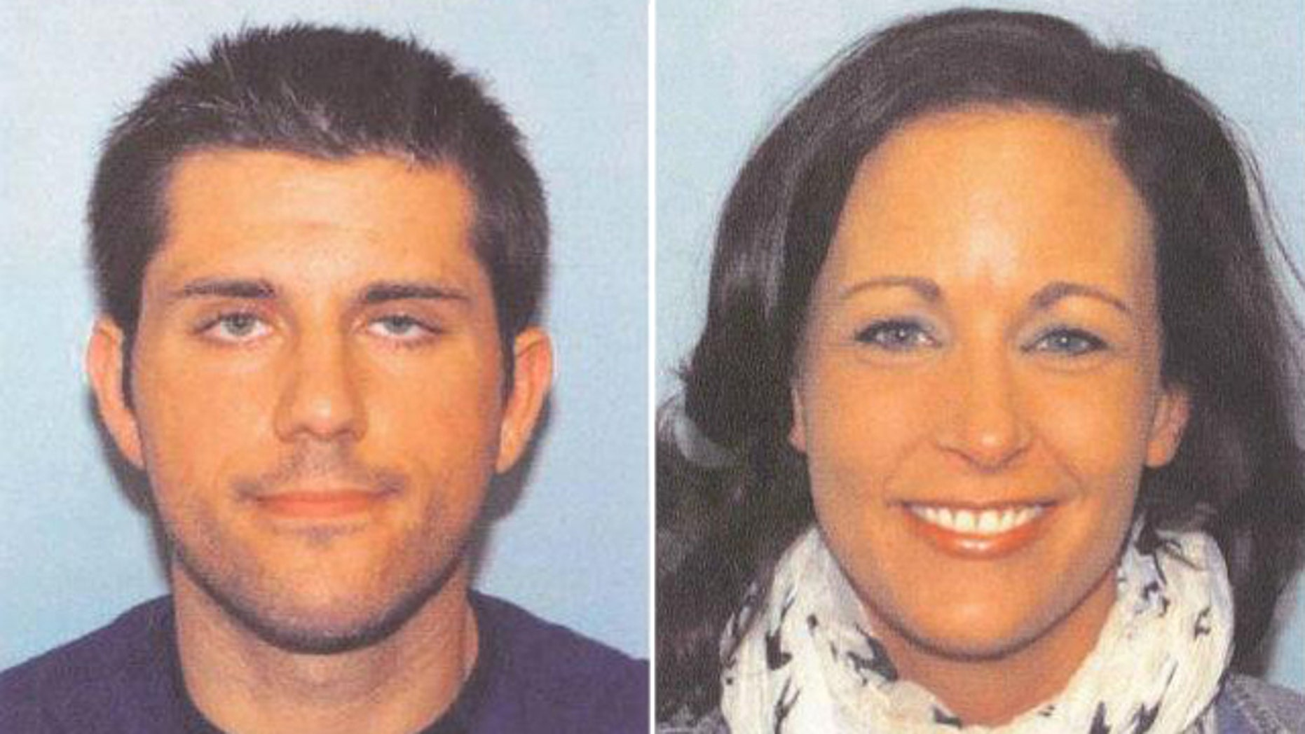 Police have issued an arrest warrant for Nathan Summerfield, left, after Lynn Jackenheimer, right, was found dead in North Carolina's Outer Banks.
