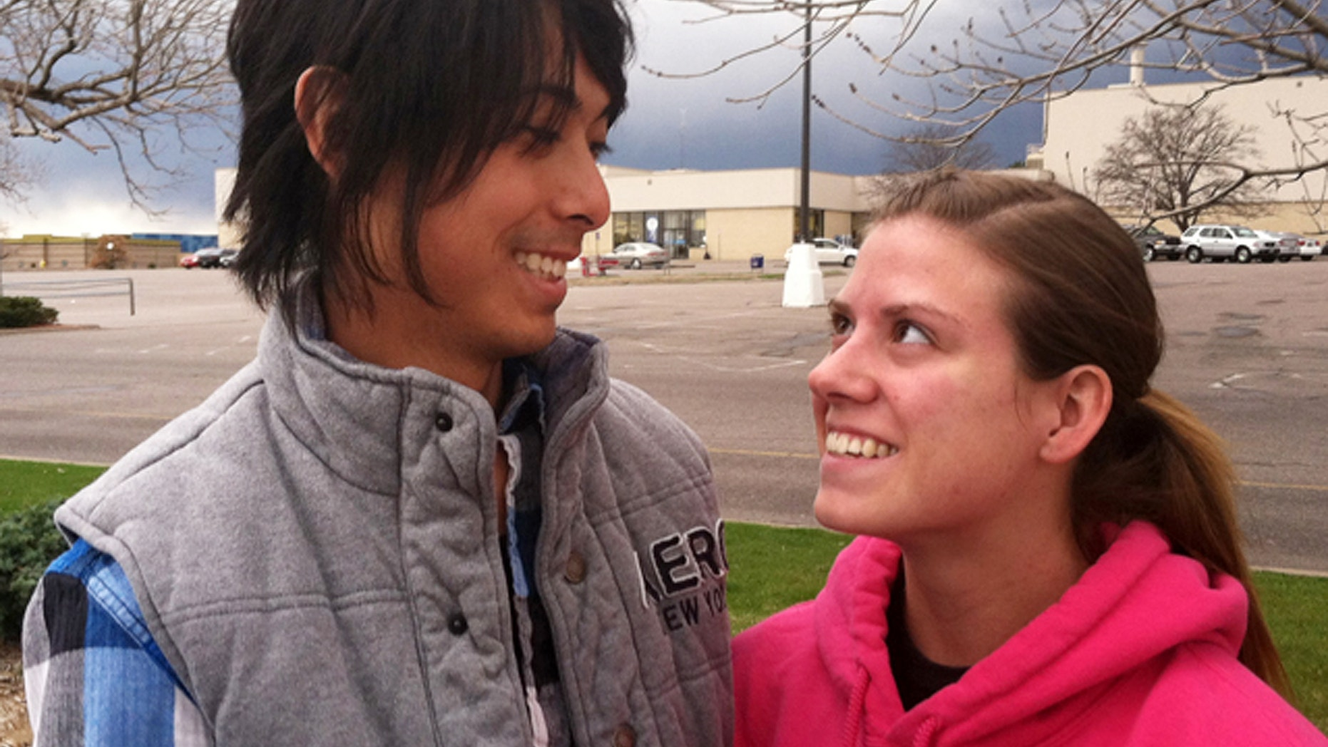 This undated photo released courtesy of KMGH-TV shows Eugene Han and Kirstin Davis who survived the Aurora theater shootings last July 20,2012. Han and Davis have decided to get married and scheduled their wedding for the first anniversary of the tragedy on July 20 to make it a happier day. Han was shot in the hip and knee and Davis says she suffered minor scratches in the assault on a packed movie theater. (AP Photo/KMGH-TV)