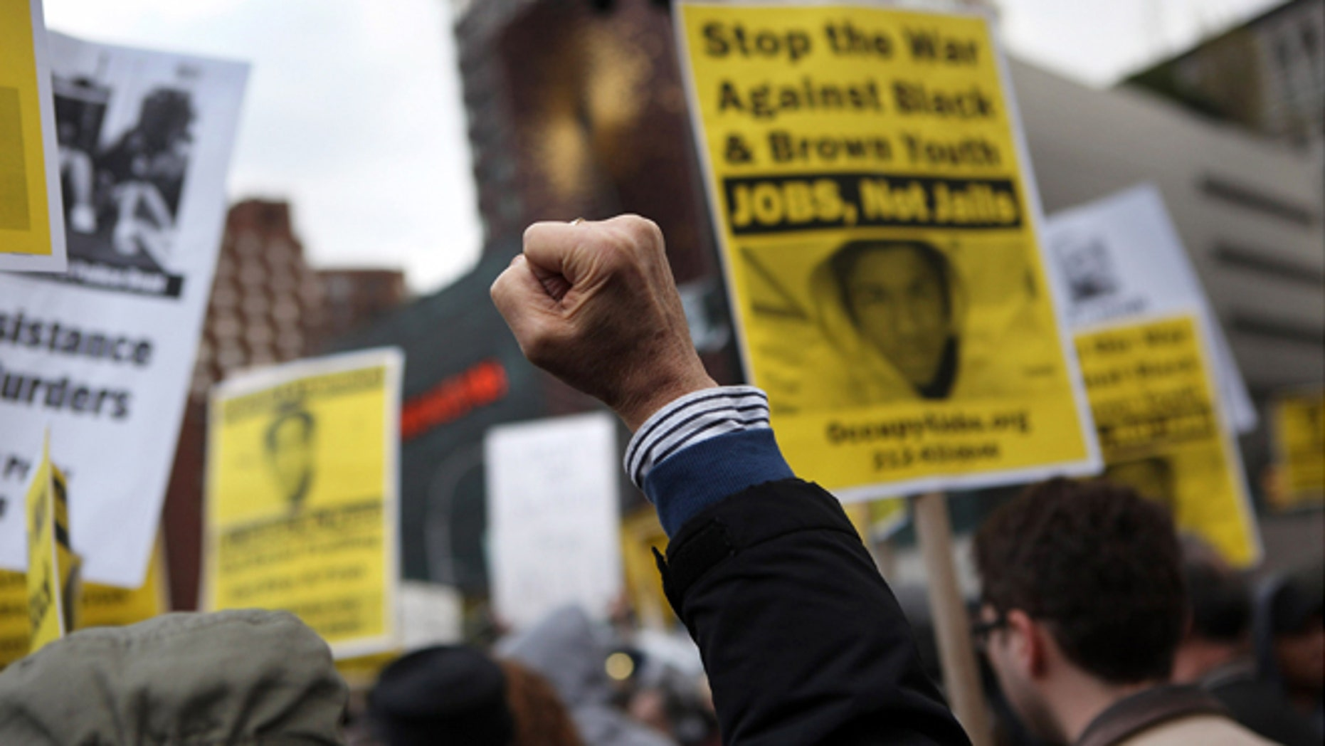 Protesters gather in support of Trayvon Martin at a demonstration on April 10, 2012 in New York City.