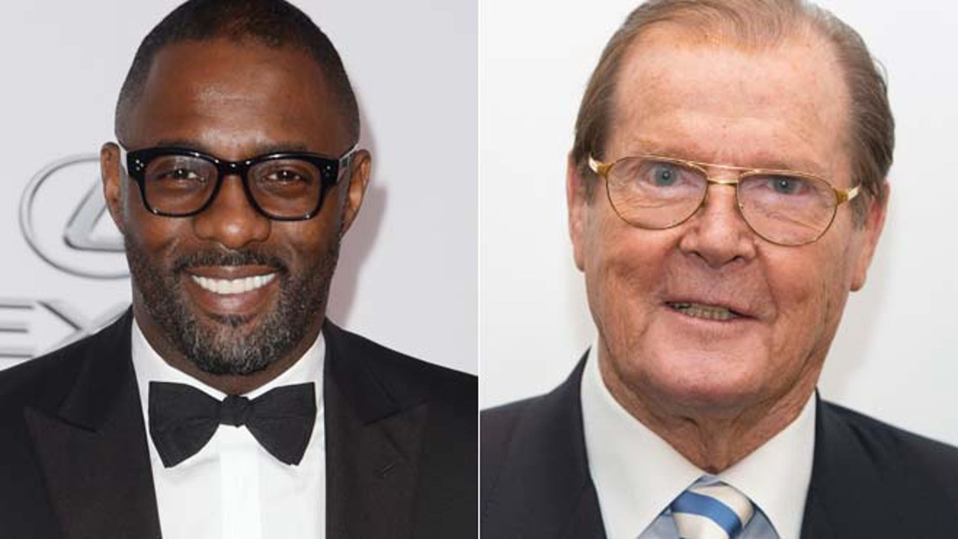 Idris Elba in 2014. (Right). Roger Moore in 2012.