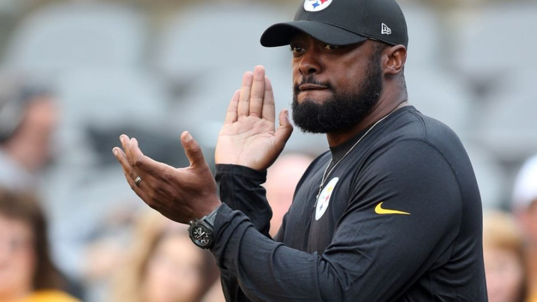 Aug 12, 2016; Pittsburgh, PA, USA; Pittsburgh Steelers head coach Mike Tomlin reacts on the field before playing the Detroit Lions at Heinz Field. Mandatory Credit: Charles LeClaire-USA TODAY Sports