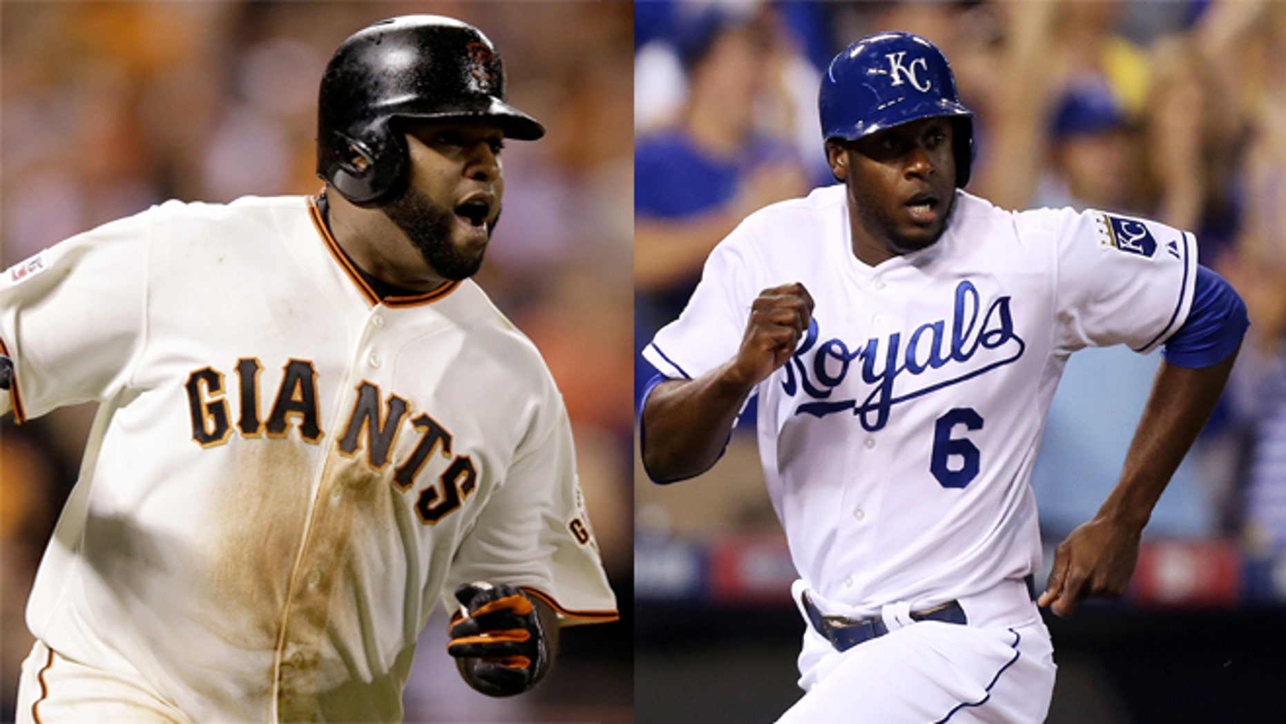 A photo composite of the San Francisco Giants' Pablo Sandoval (L) and the Kansas City Royals' Lorenzo Cain (R).