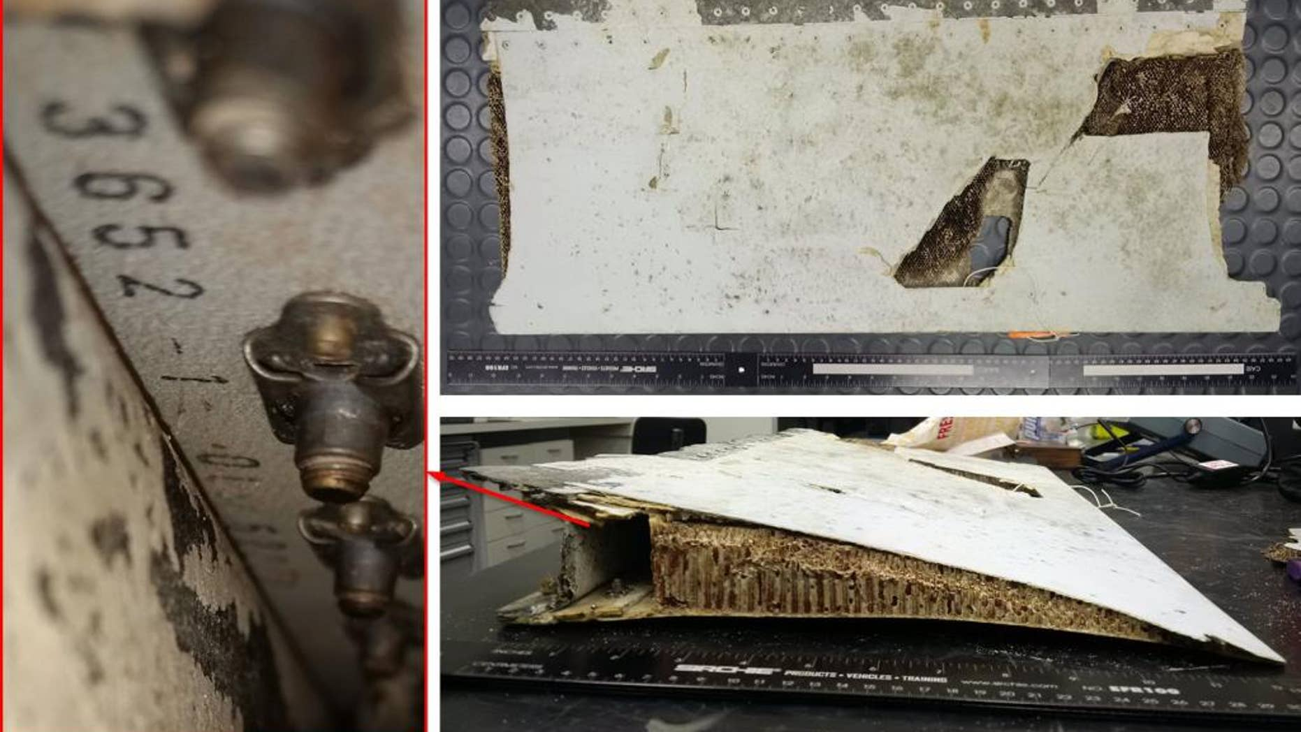 This combination of three photos taken Friday, Oct. 7, 2016 and released by Australian Transport Safety Bureau shows a piece of aircraft debris stored at the ATSB laboratory in Canberra, Australia. Malaysian and Australian officials say this piece of an aircraft wing found on the Indian Ocean island of Mauritius has been identified as belonging to missing Malaysia Airlines Flight 370. The piece of wing flap was found in May and subsequently analyzed by experts at the Australian Transport Safety Bureau, which is heading up the search for the plane in a remote stretch of ocean off Australia's west coast. The red arrow and markings are provided by the source. ( Australian Transport Safety Bureau via AP)