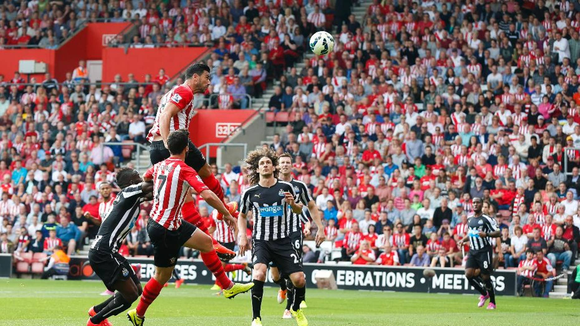 Southampton's Graziano Pelle, above, scores during their English Premier League soccer match against Newcastle United at St Mary's, Southampton, England, Saturday, Sept. 13, 2014. (AP Photo/Chris Ison, PA Wire)      UNITED KINGDOM OUT    -    NO SALES   -   NO ARCHIVES