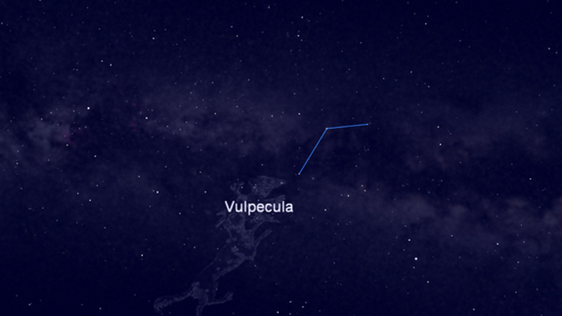 This night sky map shows the location of the constellation Vulpecula, the Little Fox, home to Brocchi's Cluster, a star cluster visible in binoculars and small telescopes. The constellation is visible in the east-southeast night sky between sta