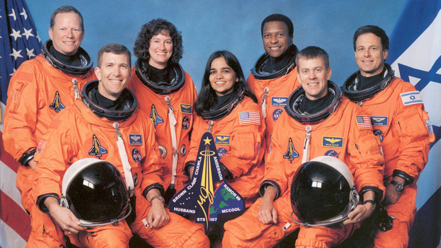 Space Shuttle Columbia mission STS-107 pose at Johnson Space Center in Houston in this January 1,2002 NASA handout photo.