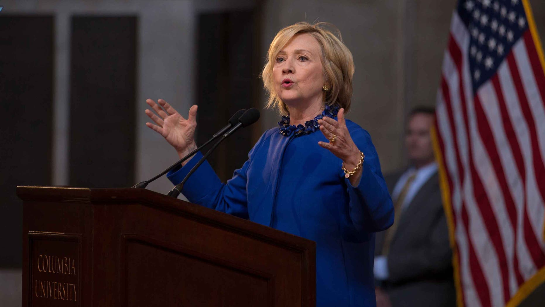 NEW YORK, NY - APRIL 29:  Democratic presidential hopeful and former Secretary of State Hillary Clinton speaks during the David N. Dinkins Leadership and Public Policy Forum at Columbia University April 29, 2015 in New York City. Clinton addressed the unrest in Baltimore calling for police body cameras and a reform to sentencing.   (Photo by Kevin Hagen/Getty Images)