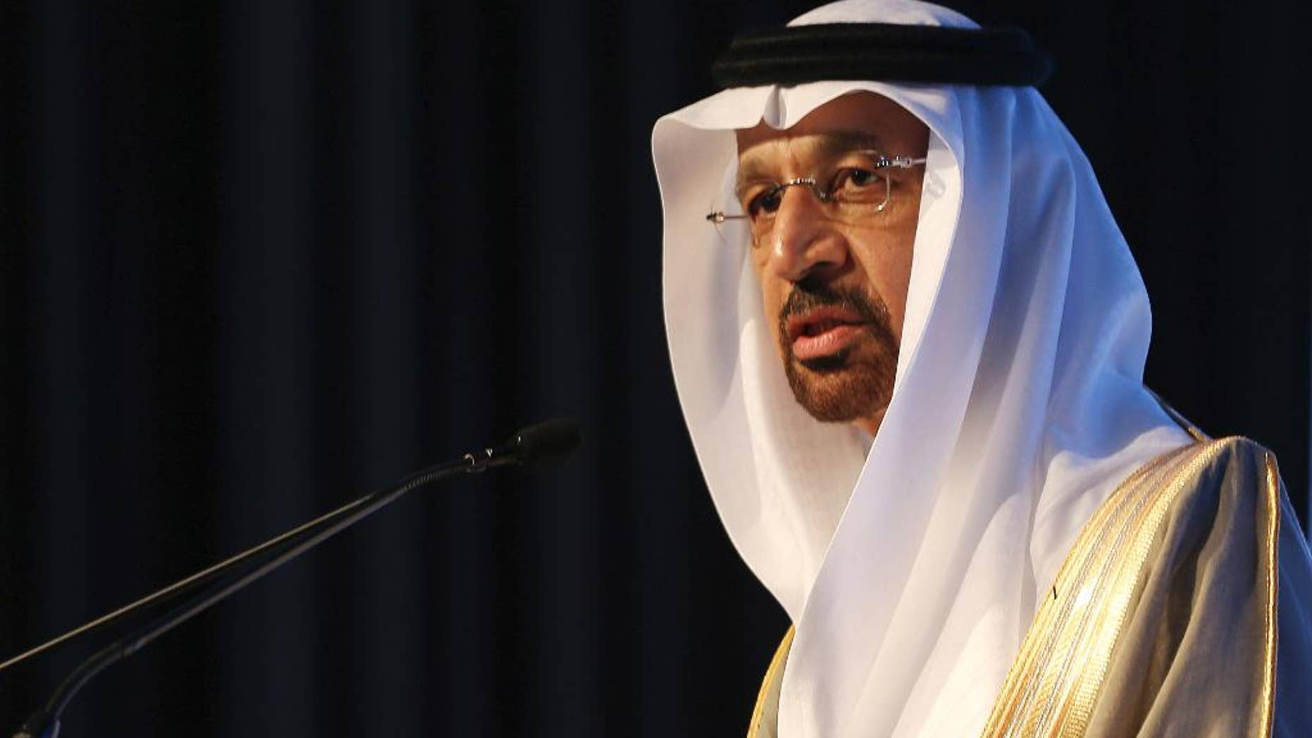 FILE- In this Jan. 12, 2017 file photo, Saudi's Oil Minister Khalid al-Falih, speaks during an Energy Forum in Abu Dhabi, United Arab Emirates. On Thursday, April 20, 2017, Al-Falih suggested that production cuts agreed to by OPEC members and countries outside of the cartel may need to continue to help shore up crude oil prices. (AP Photo/Kamran Jebreili, File)