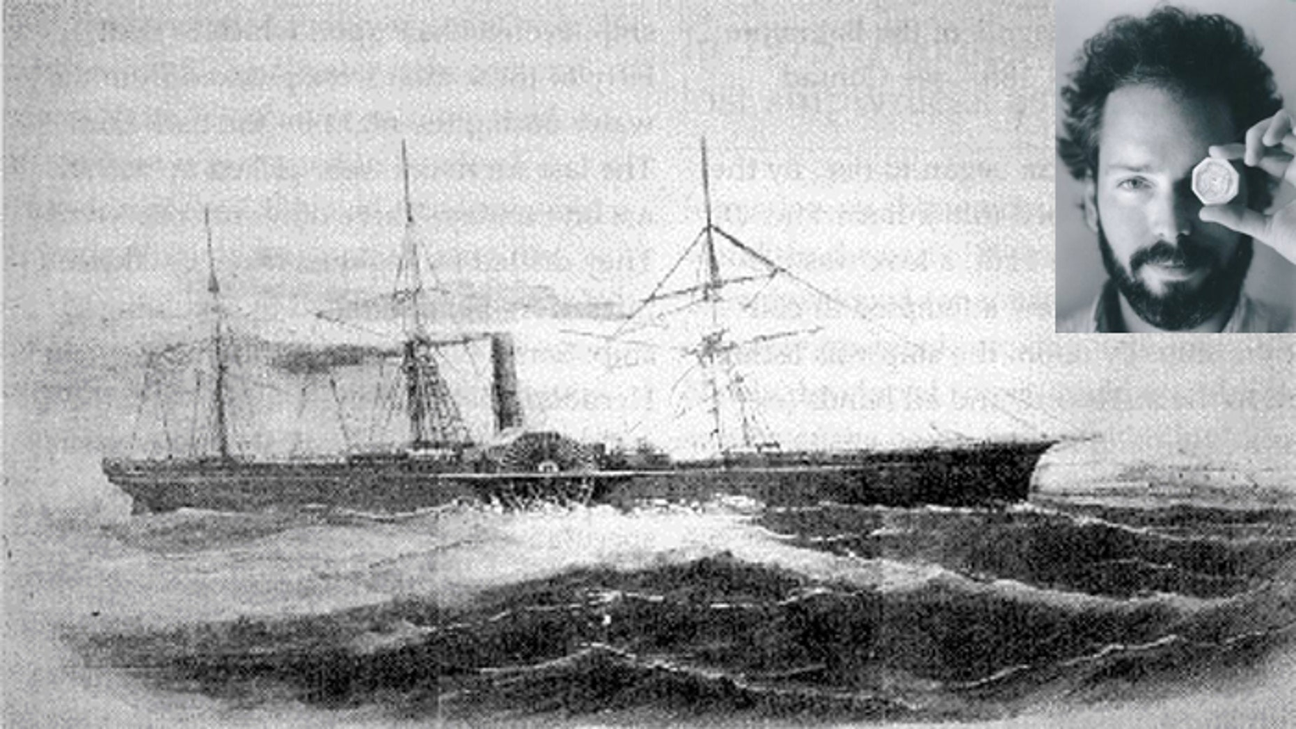 """The 280-foot SS Central America, which has been dubbed the """"Ship of Gold,"""" sank during a hurricane off the North Carolina coast in 1857. Tommy Thompson (inset), who found it and then disappeared, is now in custody. (Columbus Dispatch)"""