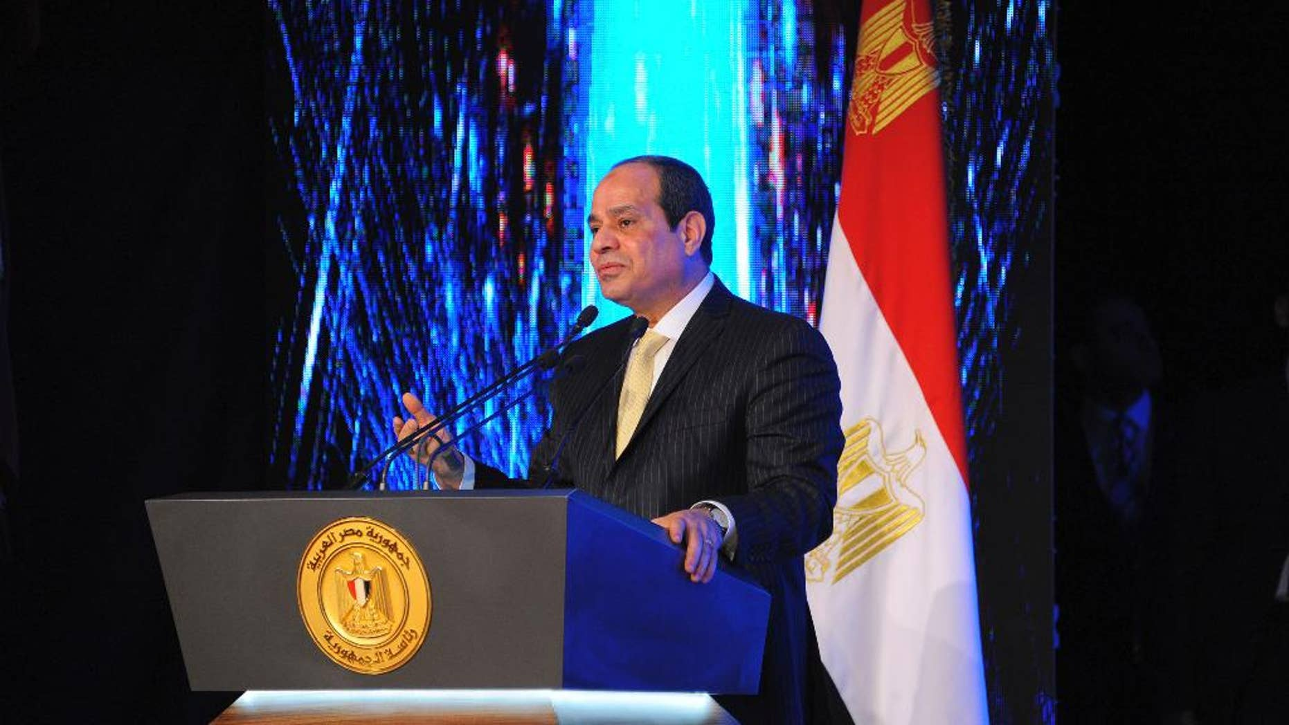 In this handout photo provided by the Egyptian presidency, President Abdel-Fatteh el-Sissi speaks during a ceremony making Police Day, at the Police Academy in an Eastern Cairo suburb, Tuesday, Jan. 24, 2017.  El-Sissi says he is alarmed by his country's high divorce rates and is suggesting ground-breaking legislation to ban Muslim husbands from verbally declaring their spouses divorced. (Egyptian Presidency via AP)