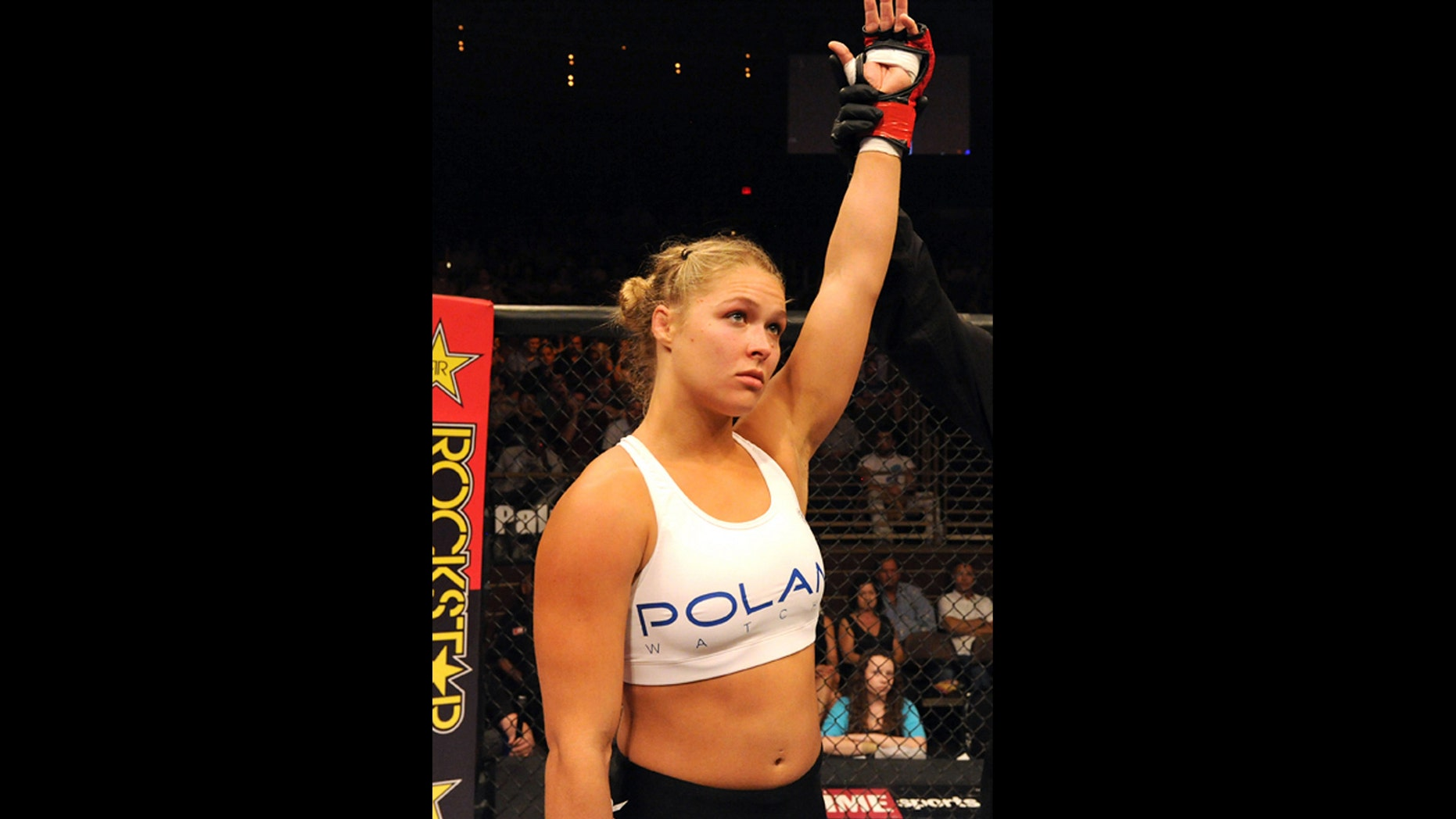 LAS VEGAS - AUGUST 12:  Ronda Rousey after her victory over Sarah D'Alelio at the Pearl at the Palms on August 12, 2011 in Las Vegas, Nevada.  (Photo by Kari Hubert/Forza LLC/Forza LLC via Getty Images) *** Local Caption *** Ronda Rousey