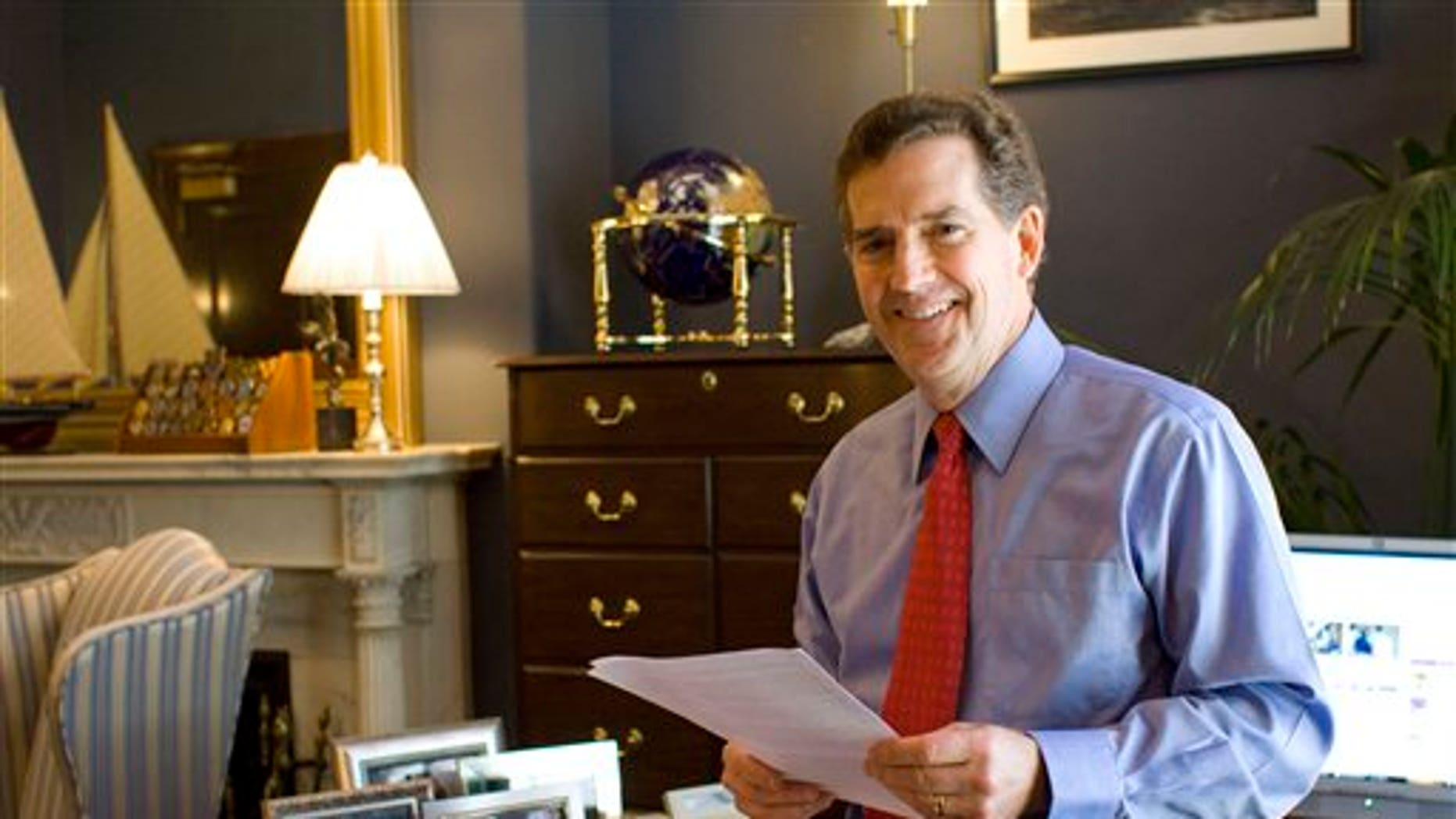Sen. Jim DeMint, R-S.C., stands in his office on Capitol Hill in Washington, Tuesday, May 4, 2010. DeMint is becoming something of a tea party hero, even a potential conservative kingmaker, a status that is not making the freshman senator many friends among fellow Republicans in Congress.(AP Photo/Harry Hamburg)