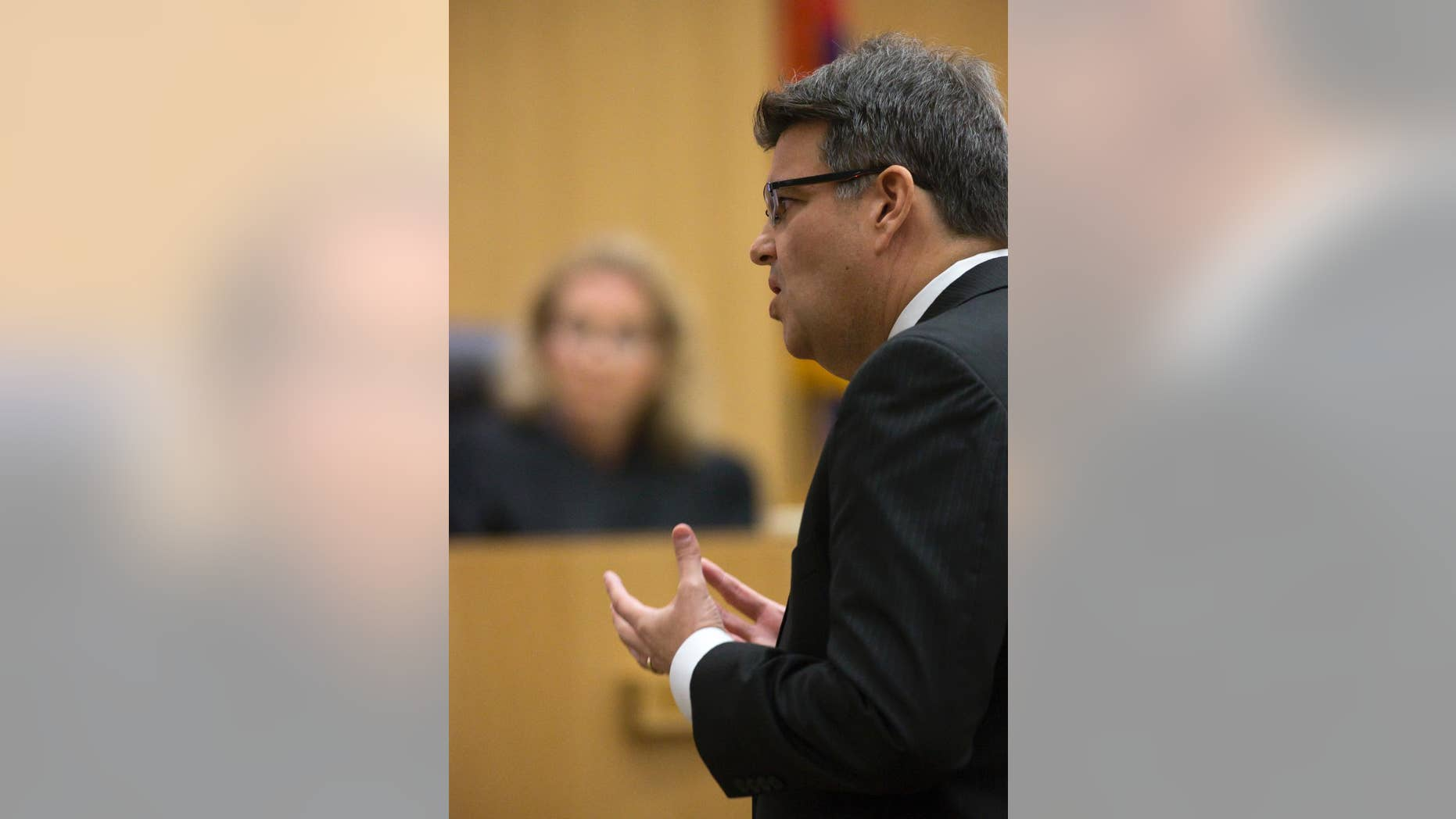 Defense attorney Kirk Nurmi presents his final arguments during the sentencing phase of the Jodi Arias retrial at Maricopa County Superior Court, Tuesday, Feb. 24, 2015 in Phoenix. (AP Photo/The Arizona Republic, Mark Henle, Pool)