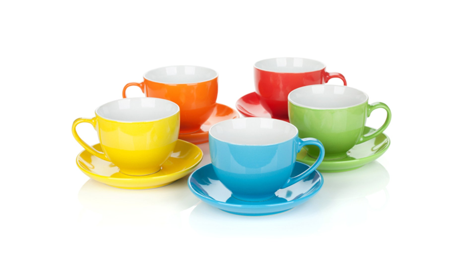 Set of colorful cups. Isolated on white background