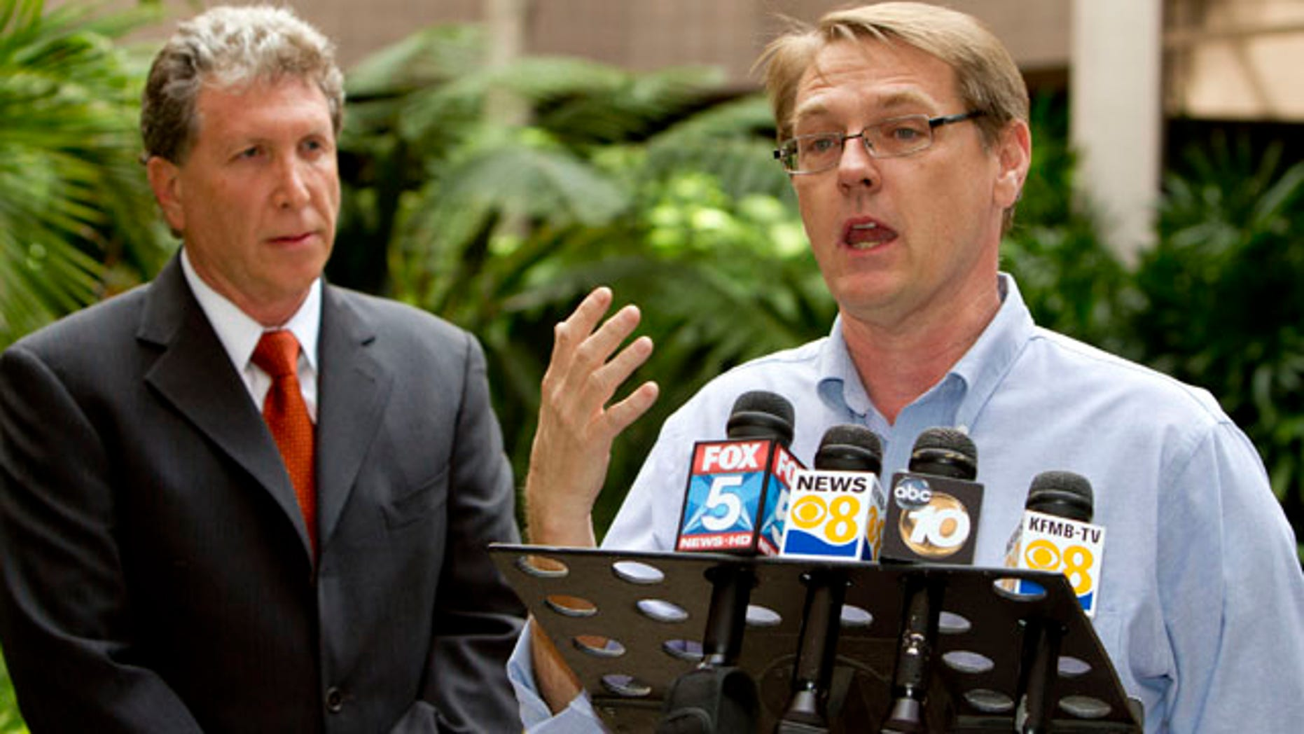 Oct. 24, 2010: SNAP National Director David Clohessy, right, and attorney Irwin Zalkin speak with members of the media during a news conference Sunday in San Diego. Attorneys for nearly 150 people who claim sexual abuse by Roman Catholic priests released thousands of pages of previously sealed internal church documents Sunday that detail complaints against the clerics and include medical records and correspondence between priests and their superiors.