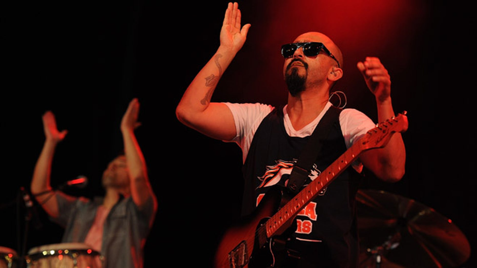 BYRON BAY, AUSTRALIA - APRIL 21:  Raul Pacheco of Ozomatli performs live for fans at the 2014 Byron Bay Bluesfest on April 21, 2014 in Byron Bay, Australia.  (Photo by Matt Roberts/Getty Images)