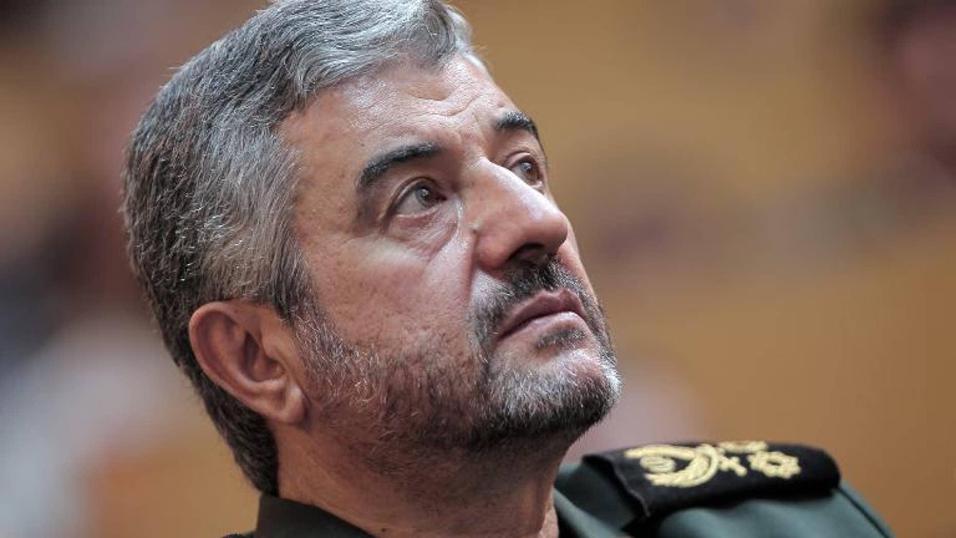 Iran's Revolutionary Guards commander General Mohammad Ali Jafari looks up during a ceremony in Tehran, on September 6, 2011