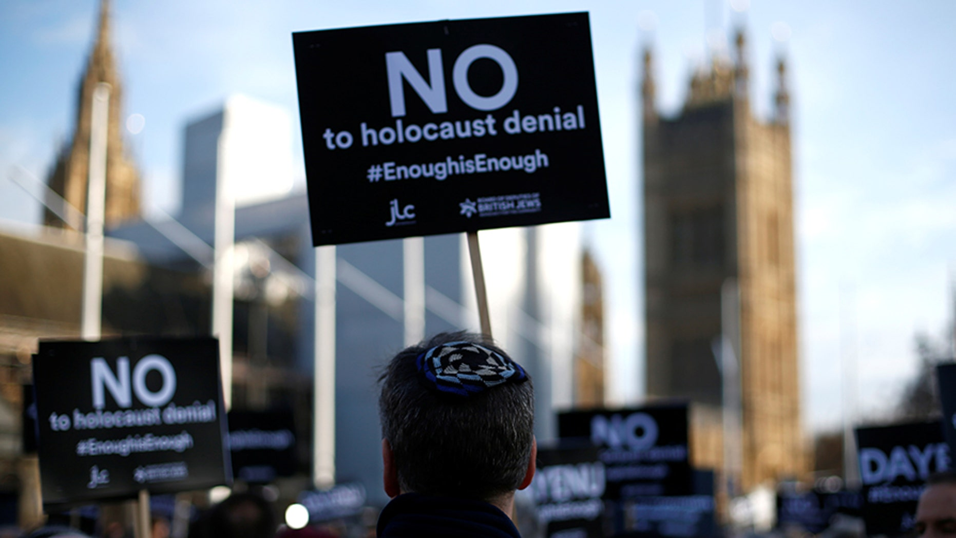 Protesters took to Parliament to protest the Labour Party's alleged anti-Semitism.