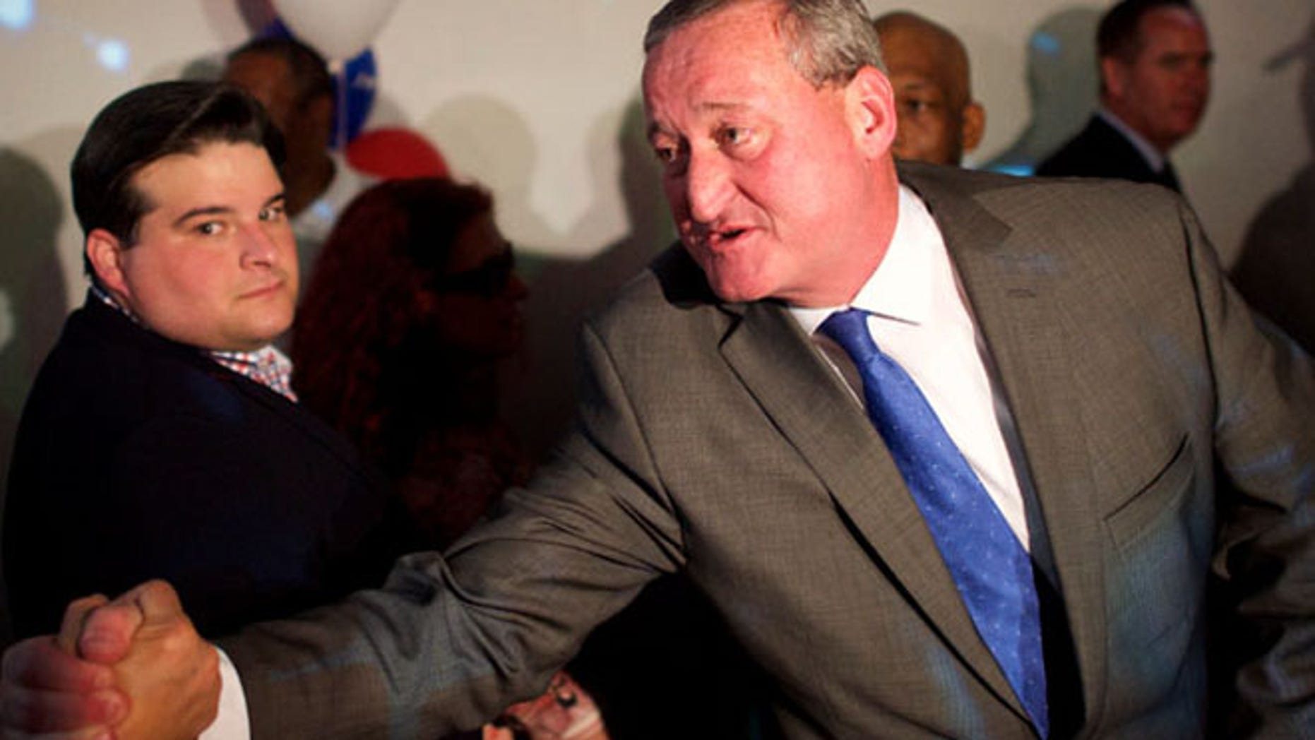 FILE: Jim Kenney greets supporters after winning the Democratic primary for Mayor of Philadelphia.