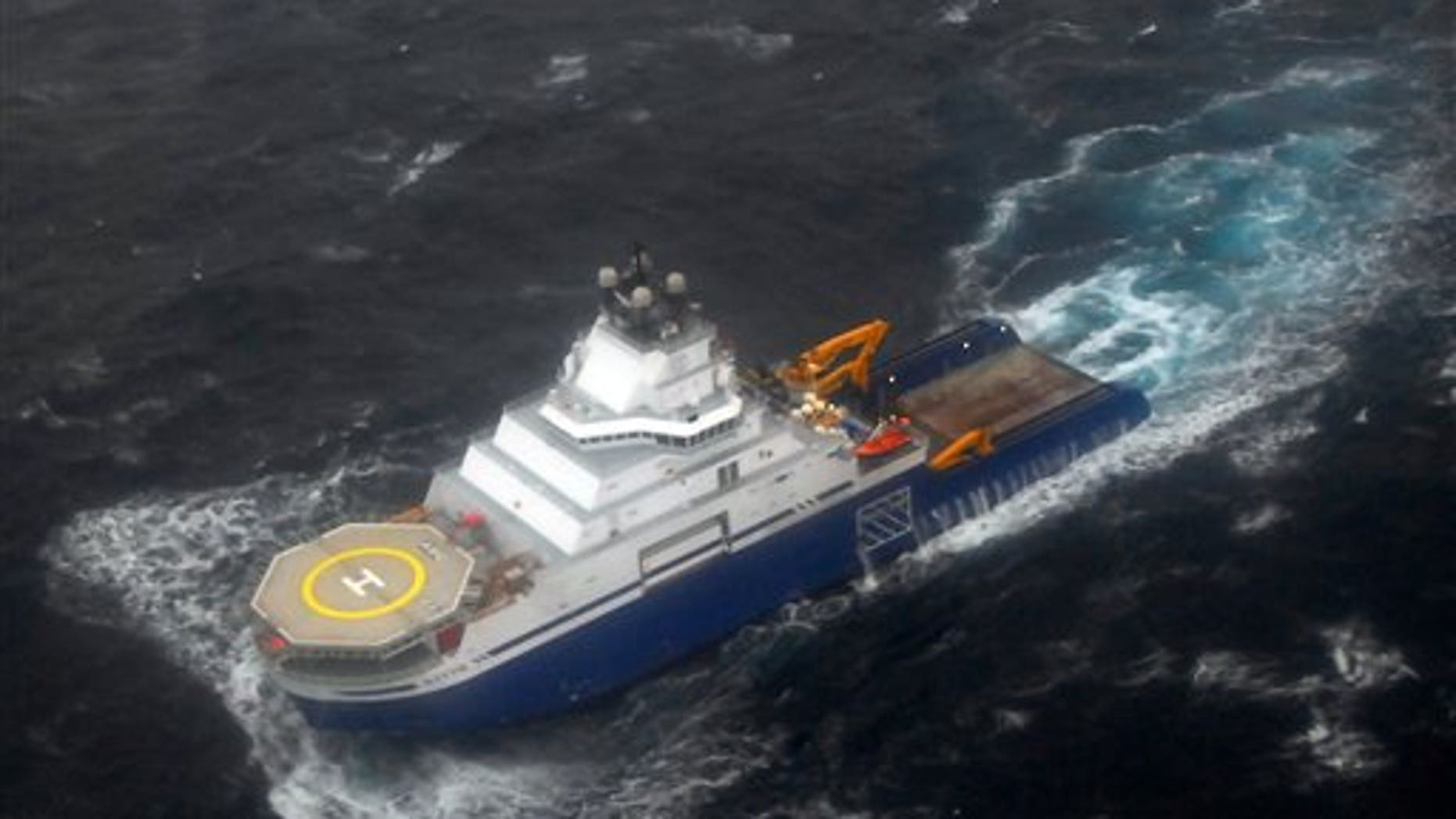 Dec. 30, 2012: The tug Aiviq travels at just under 2 mph with the mobile drilling unit Kulluk in tow 116 miles southwest of Kodiak City, Alaska.