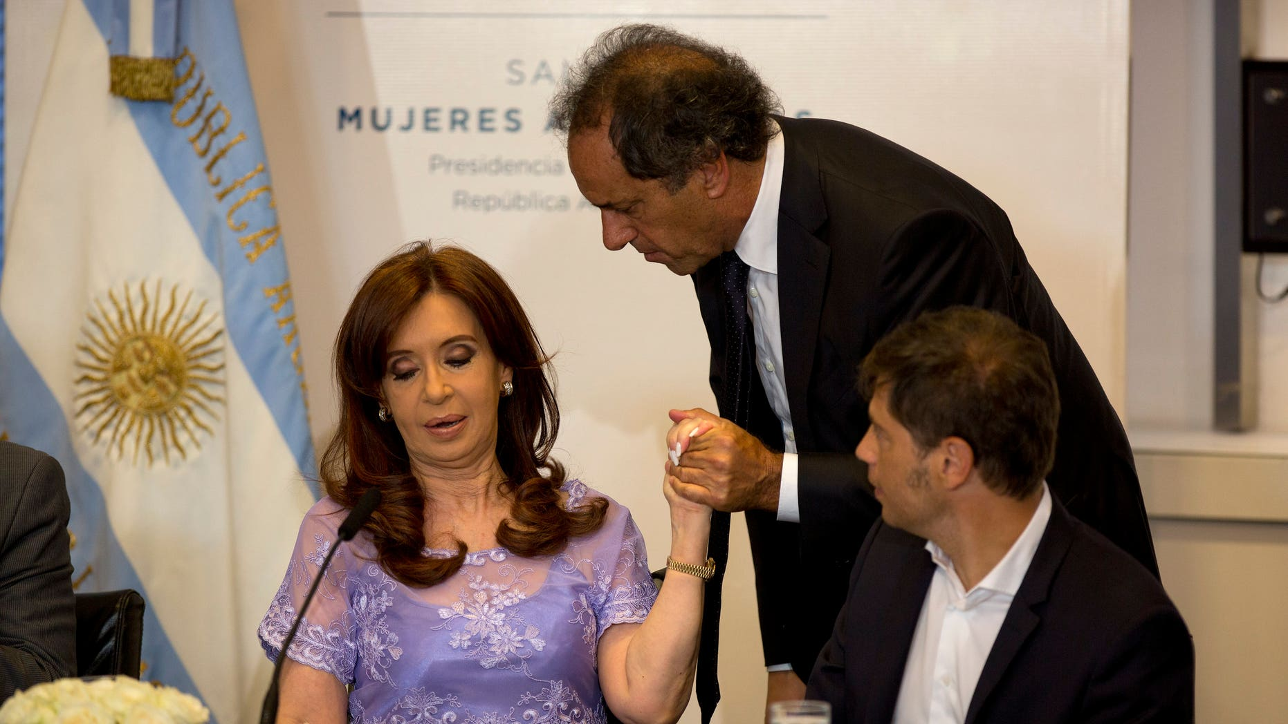 President Cristina Fernandez at the government palace, in Buenos Aires, Friday, Jan. 30, 2015.