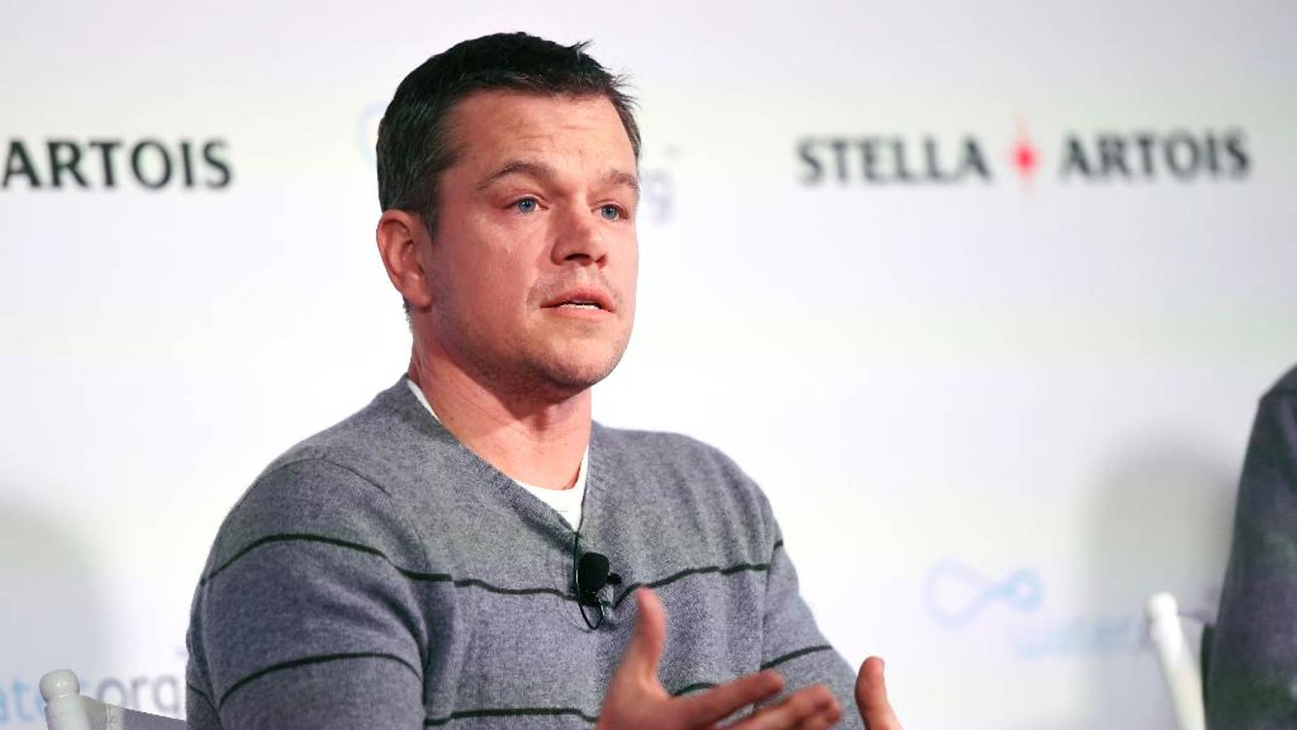 January 23, 2016. Actor Matt Damon, co-founder of Water.org, takes part in a panel discussion on the global water crisis during the 2016 Sundance Film Festival.
