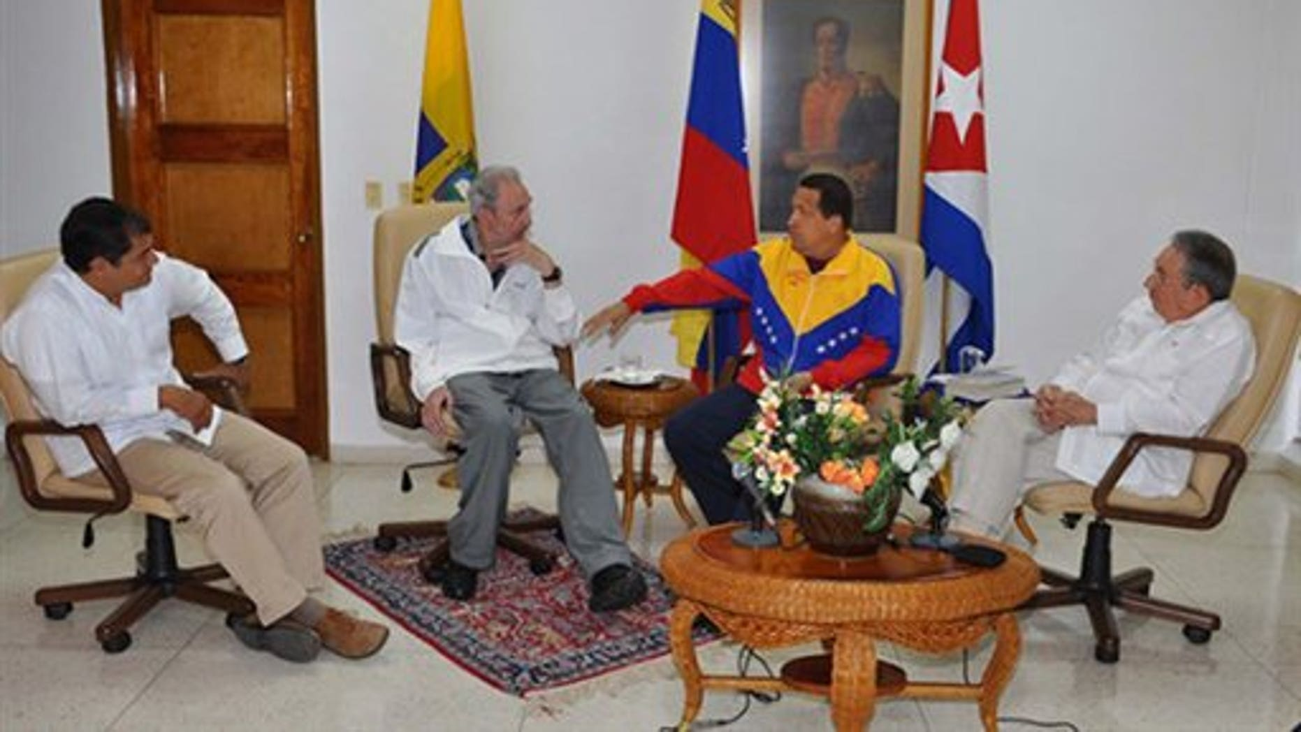 Jul 21: Photo released by Cuban government website Cubadebate. Pictured from left to right, Ecuador President Rafael Correa, Fidel Castro, Venezeulan President Hugo Chavez and Cuban President Raul Castro.
