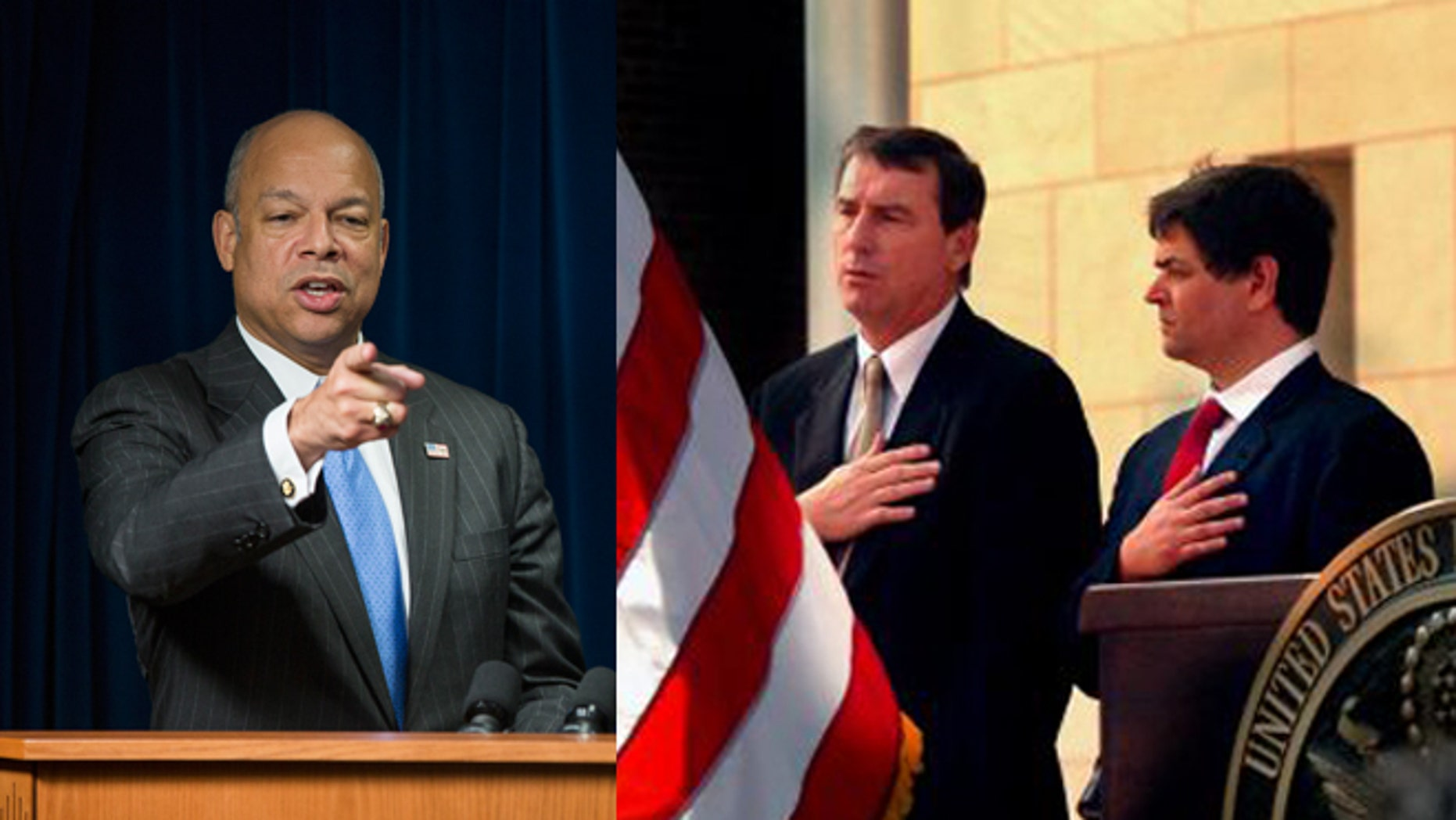 Left: Homeland Security Secretary Jeh Johnson (AP Photo/ Evan Vucci). Right: District Court Judge Anthony Hanen, at left. (AP Photo/The Brownsville Herald, Brad Doherty, File)