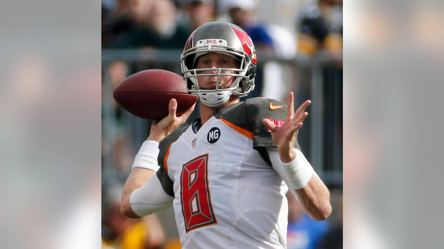 Tampa Bay Buccaneers quarterback Mike Glennon passes in the third quarter of an NFL football game against the Pittsburgh Steelers, Sunday, Sept. 28, 2014, in Pittsburgh. The Buccaneers won 27-24. (AP Photo/Gene J. Puskar)